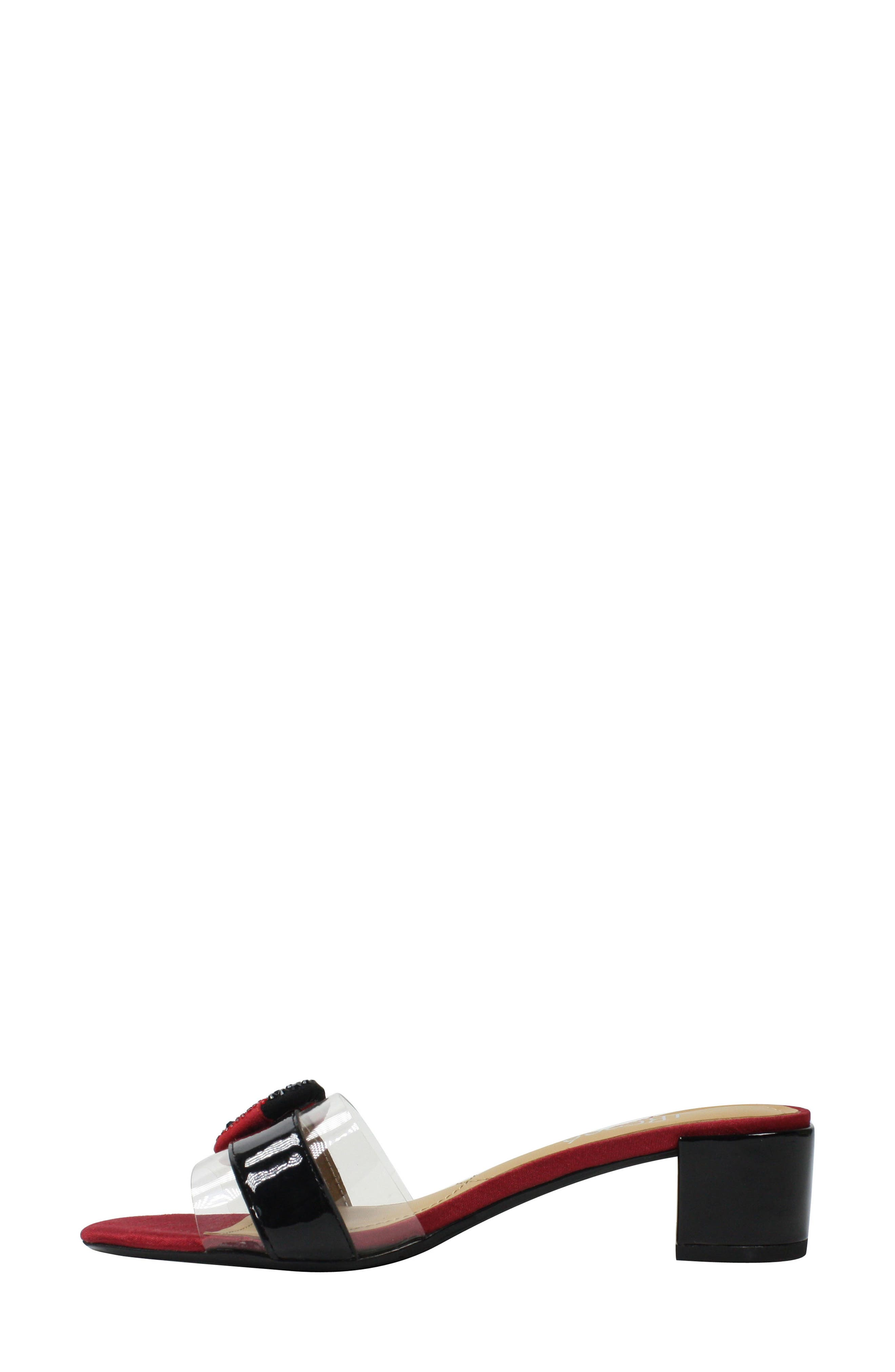Etania Slide Sandal,                             Alternate thumbnail 7, color,                             BLACK/ RED/ CLEAR