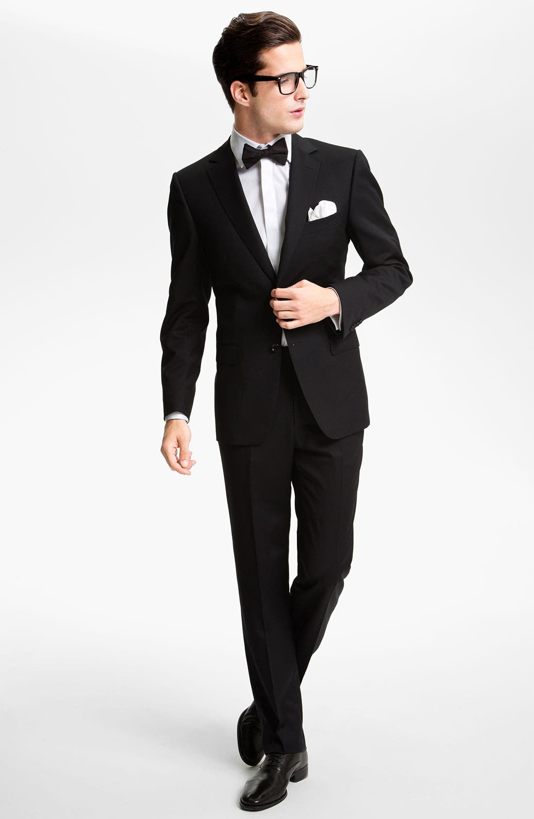 'Marlyn' Sharp Fit Stripe French Cuff Tuxedo Shirt,                             Alternate thumbnail 8, color,
