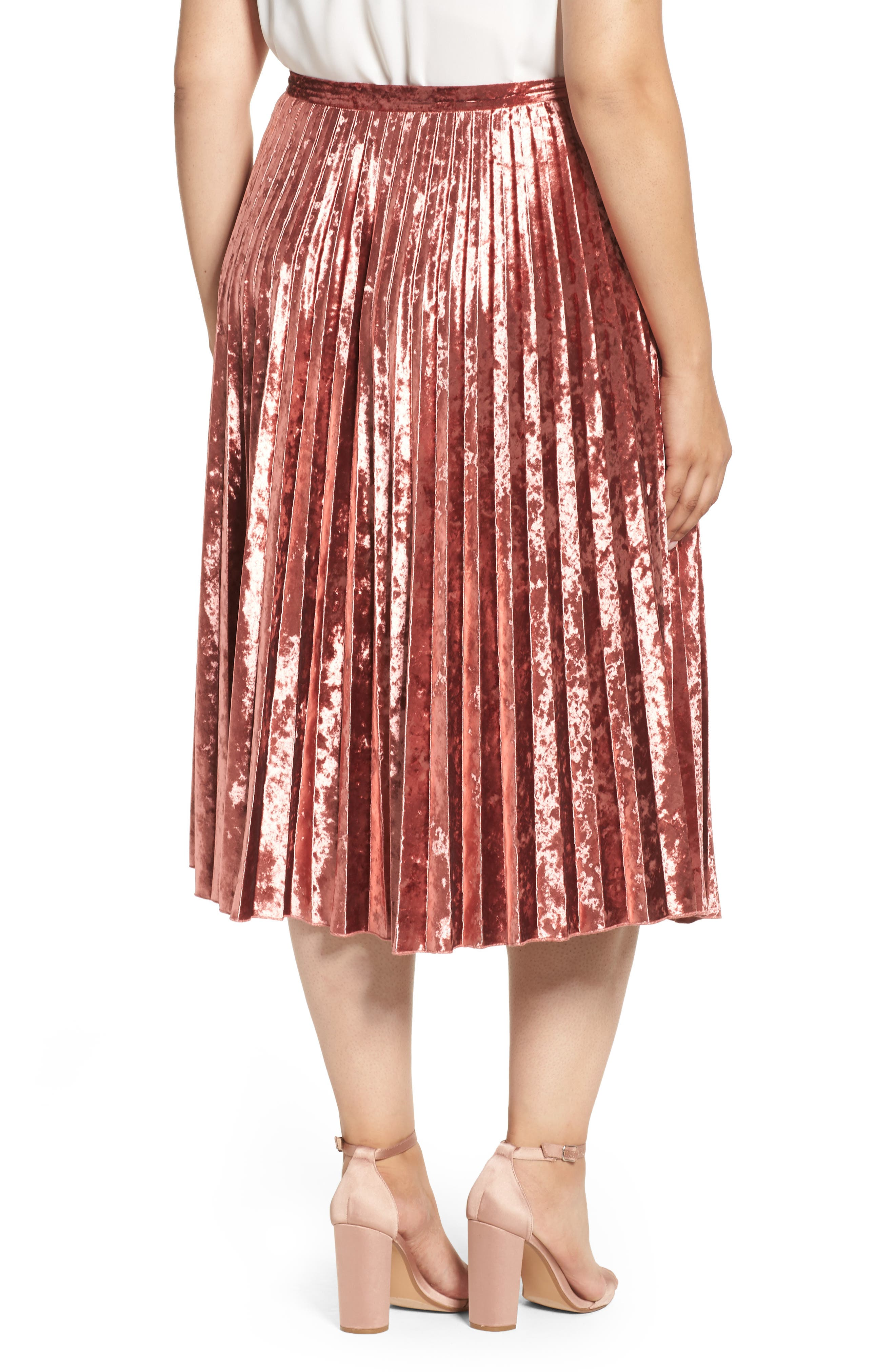 Velvet Pleat Skirt,                             Alternate thumbnail 4, color,