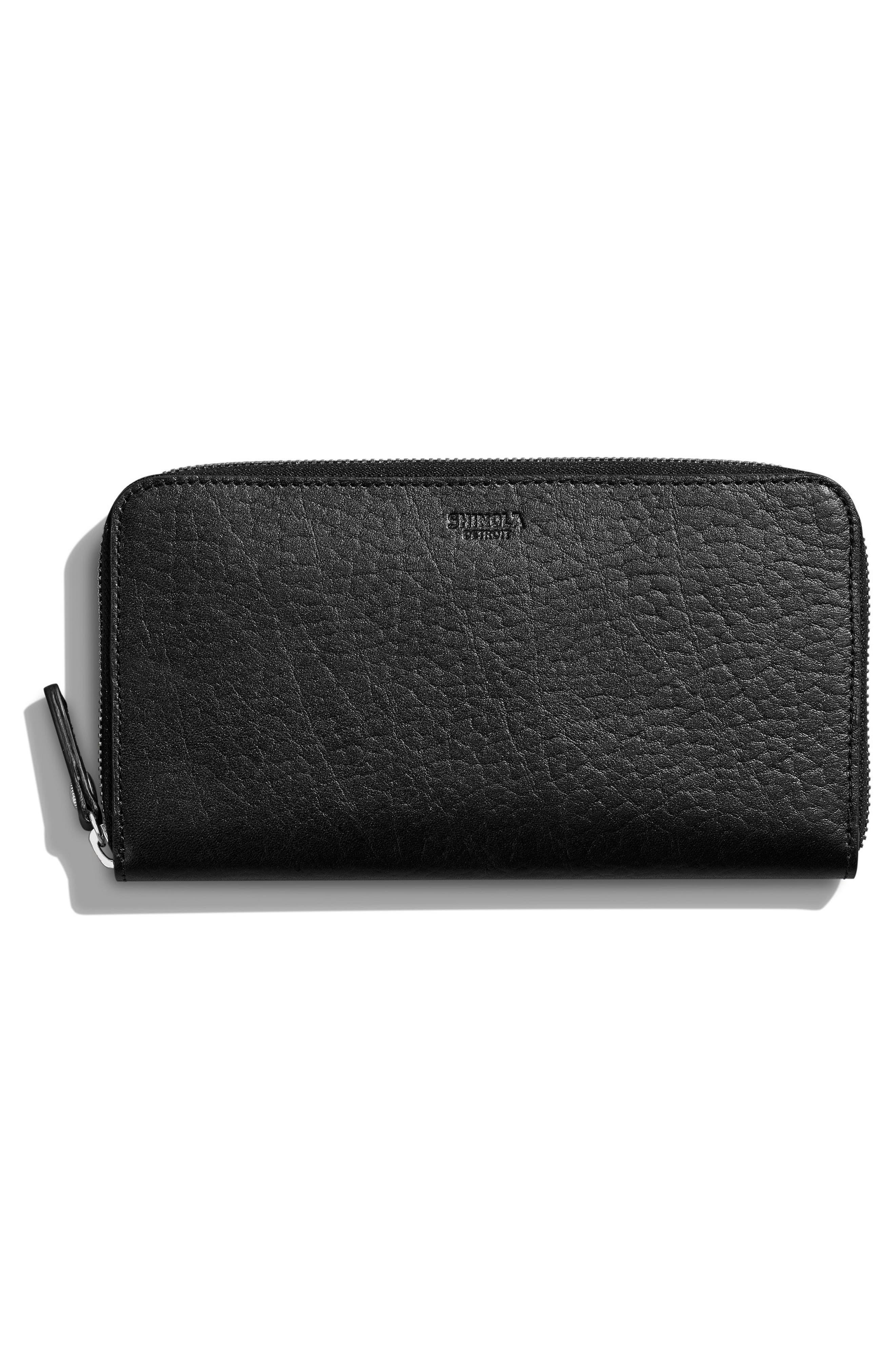 Signature Lea Leather Continental Wallet,                             Alternate thumbnail 4, color,                             BLACK