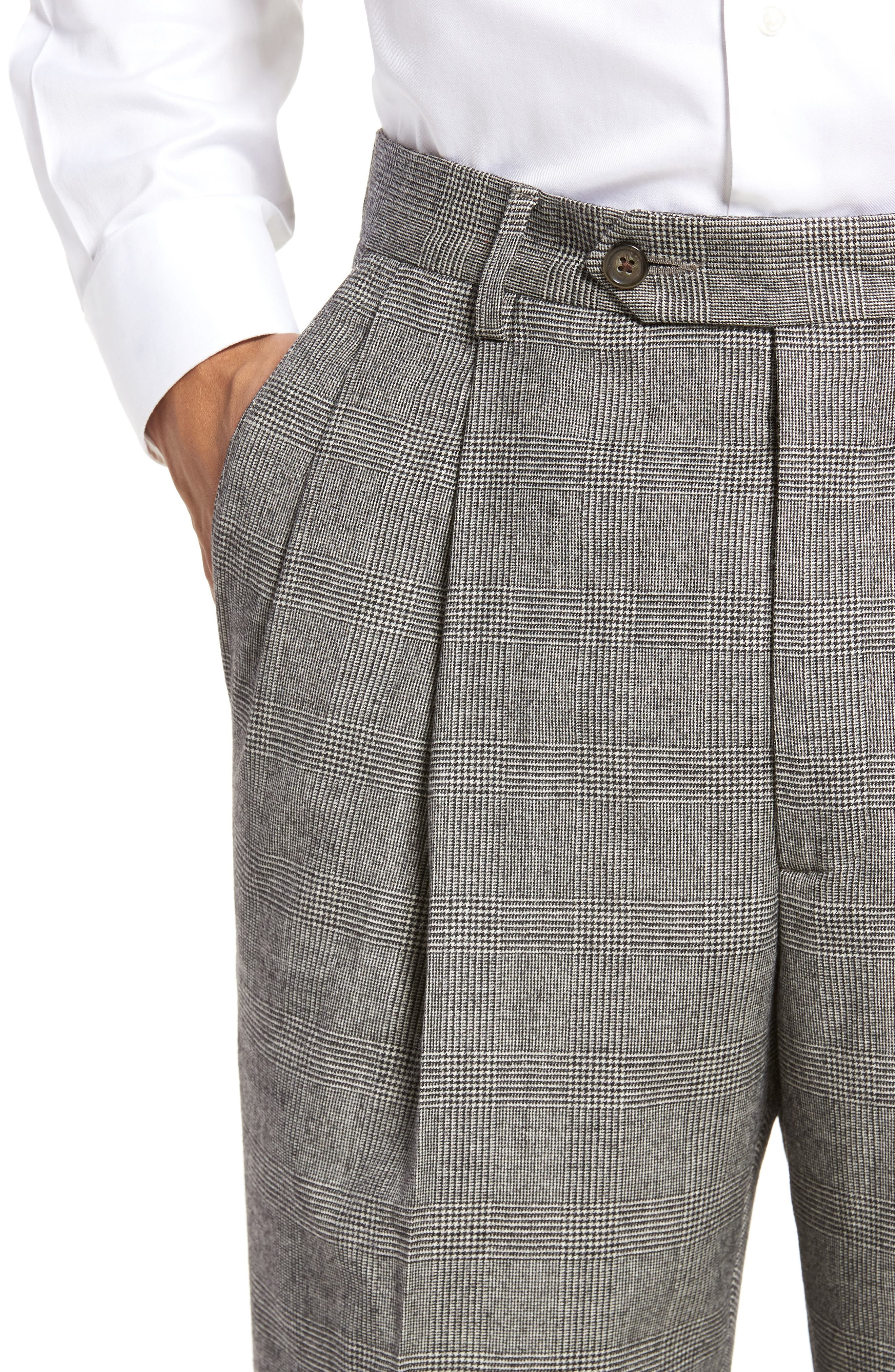 Pleated Stretch Plaid Wool Trousers,                             Alternate thumbnail 5, color,                             BLACK/ WHITE