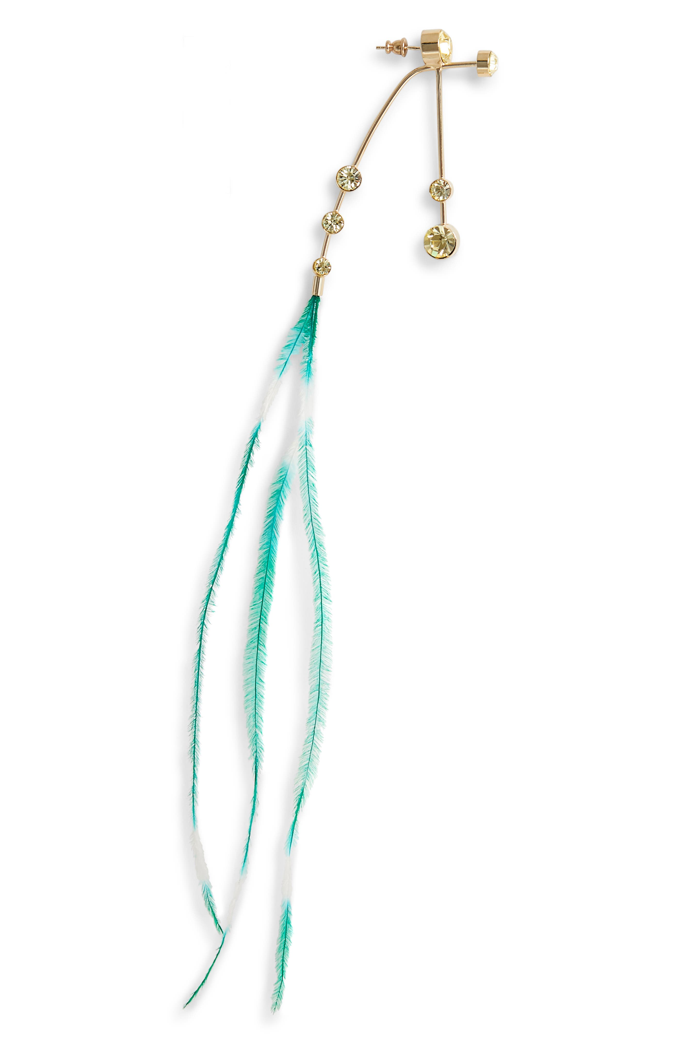 Genuine Ostrich Feather Earring,                             Main thumbnail 1, color,                             YELLOW