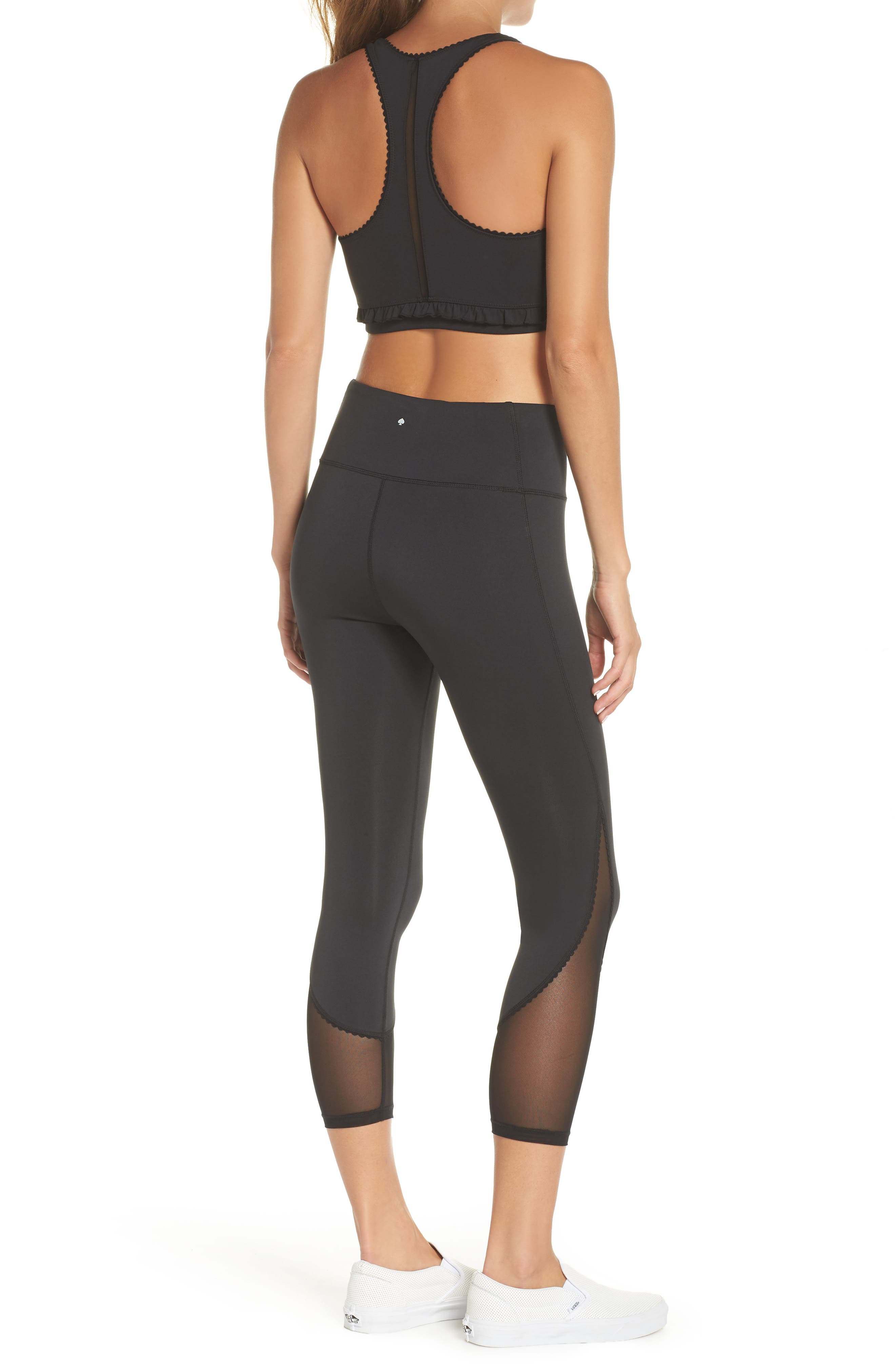 micro mesh leggings,                             Alternate thumbnail 8, color,                             BLACK