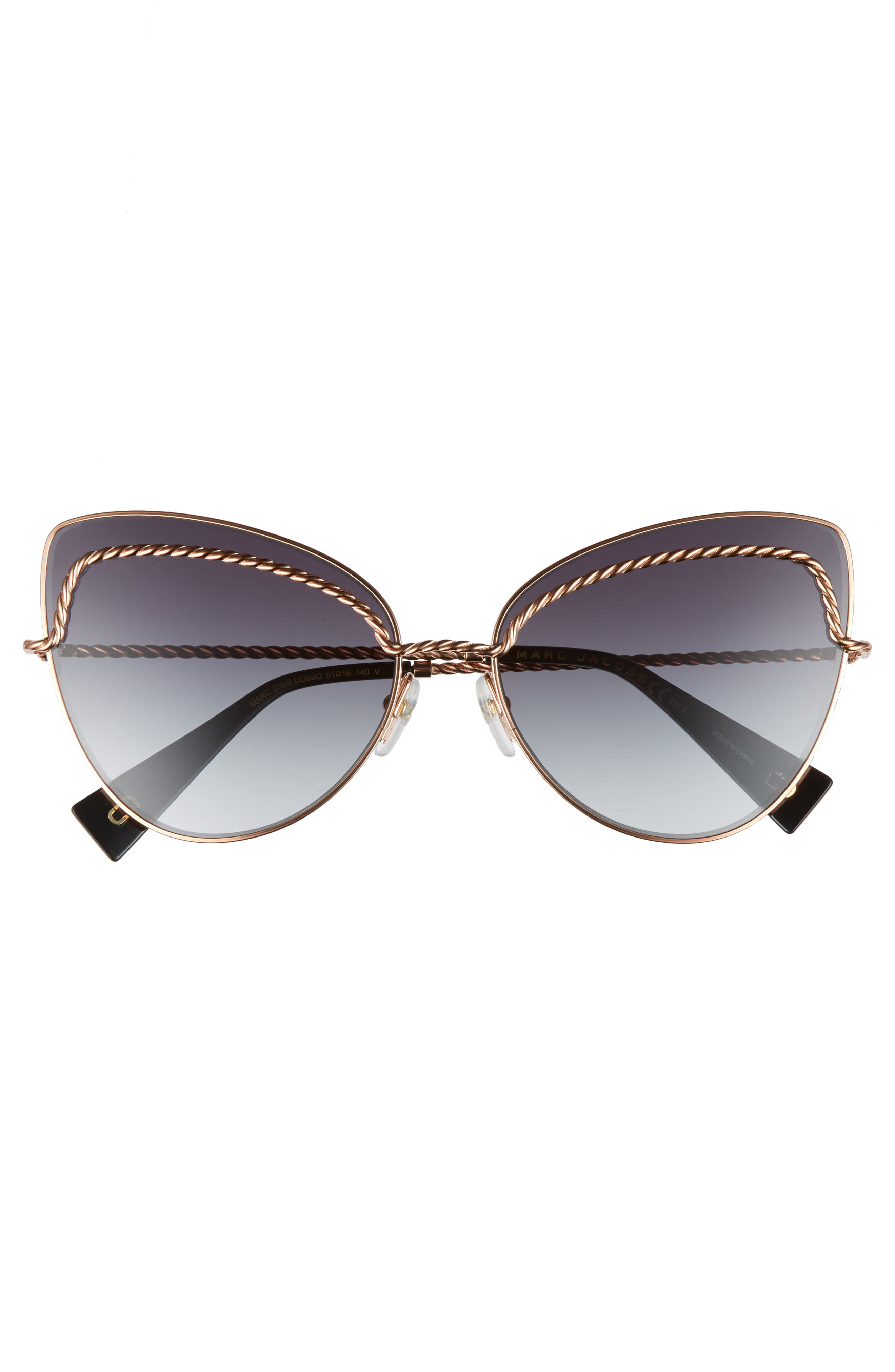 61mm Butterfly Sunglasses,                             Alternate thumbnail 3, color,                             710