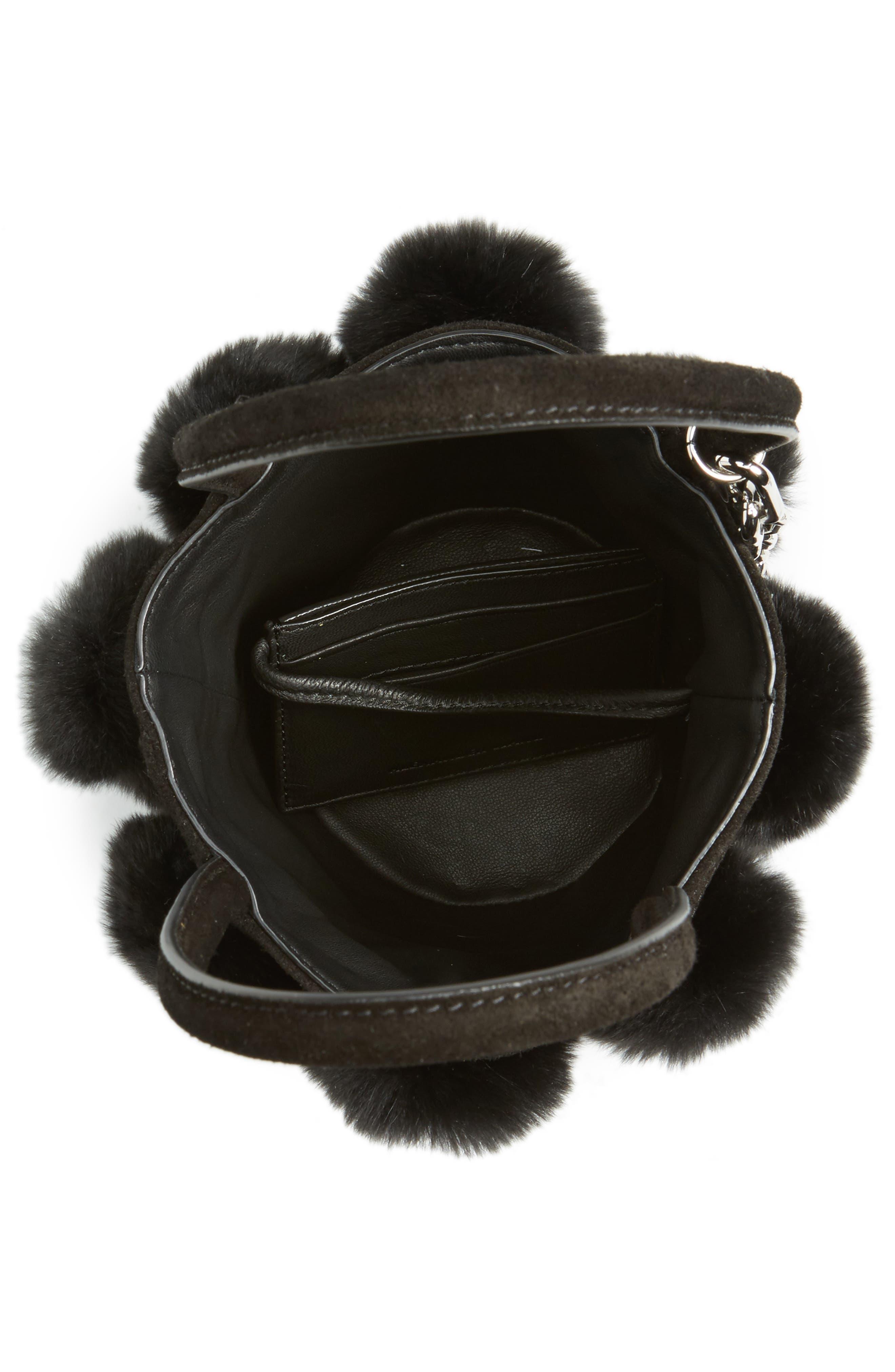Mini Roxy Genuine Rabbit Fur Pompom Leather,                             Alternate thumbnail 4, color,                             001