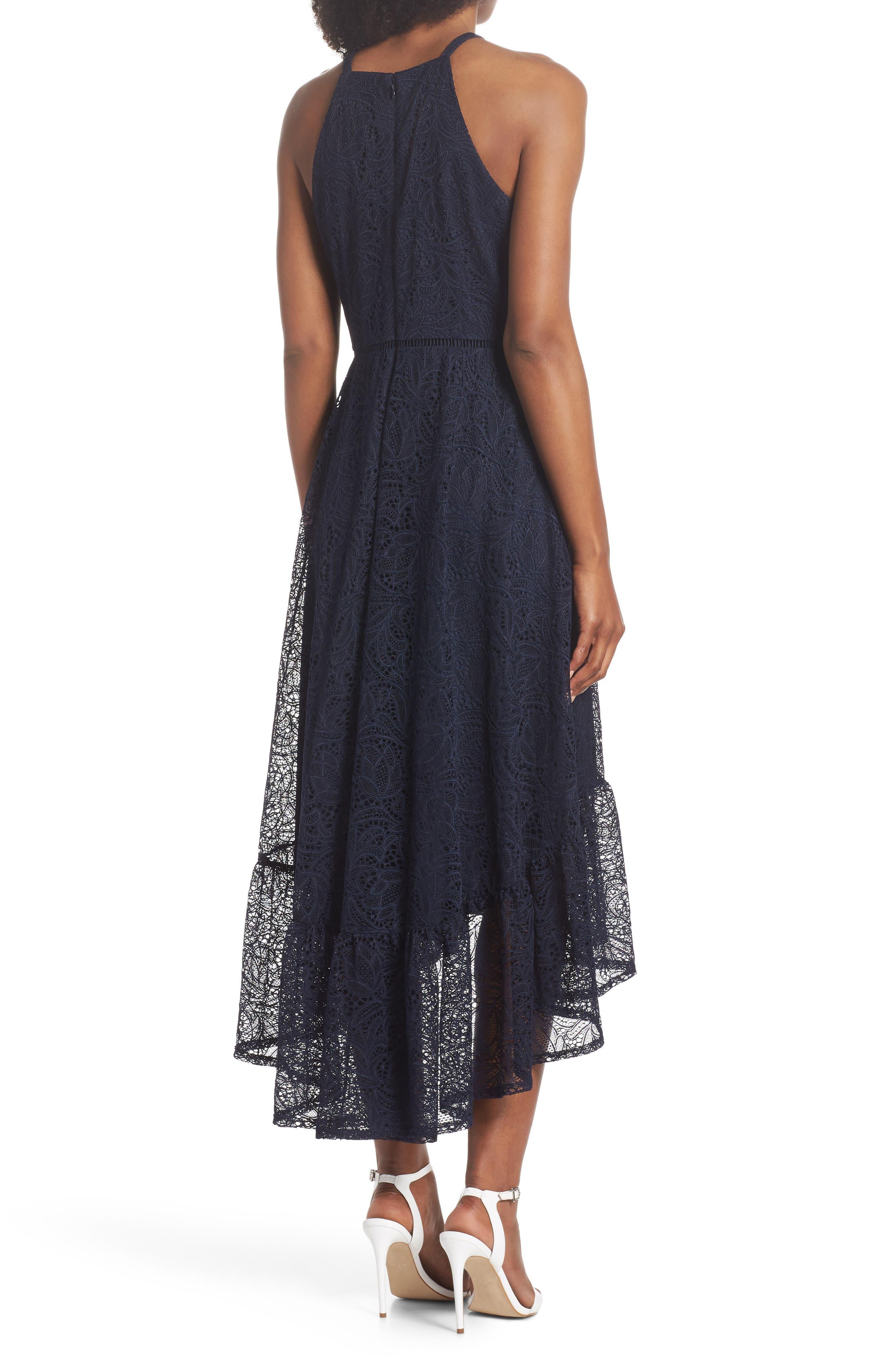 Halter Neck Lace Midi Dress,                             Alternate thumbnail 2, color,                             NAVY