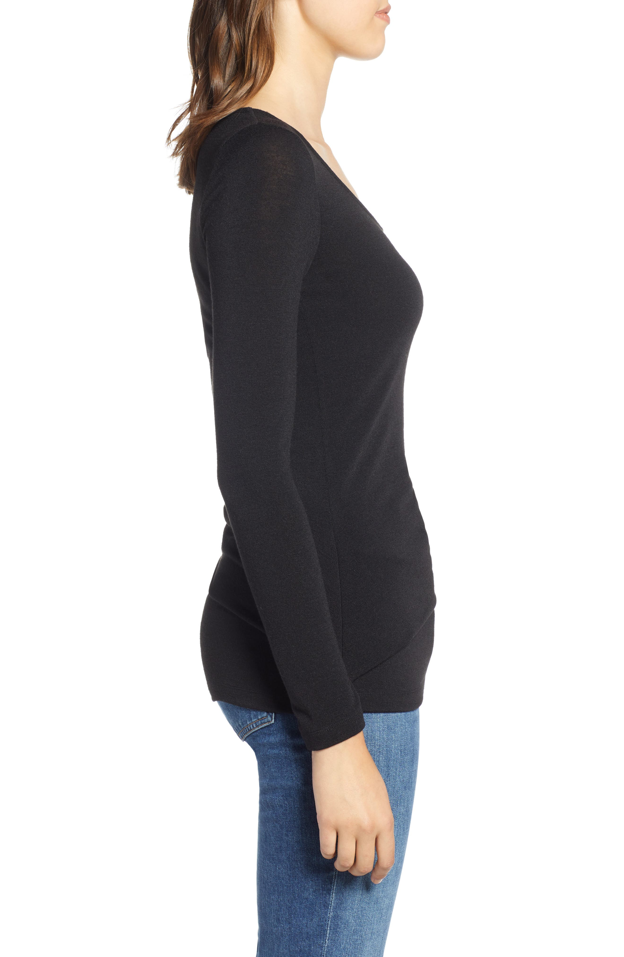 Ruched Top,                             Alternate thumbnail 3, color,                             001