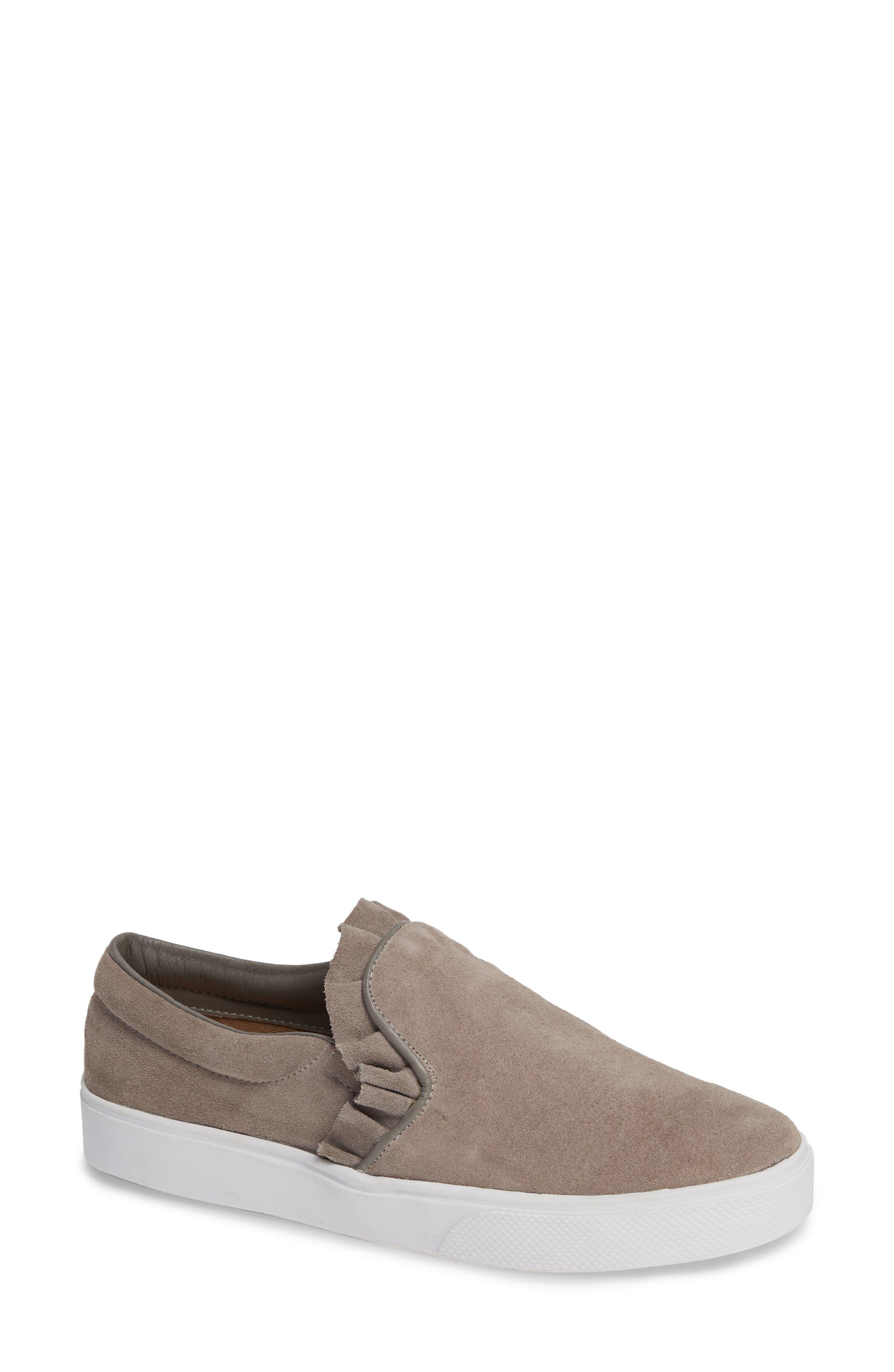 KAANAS Trento Ruffle Sneaker in Grey Suede