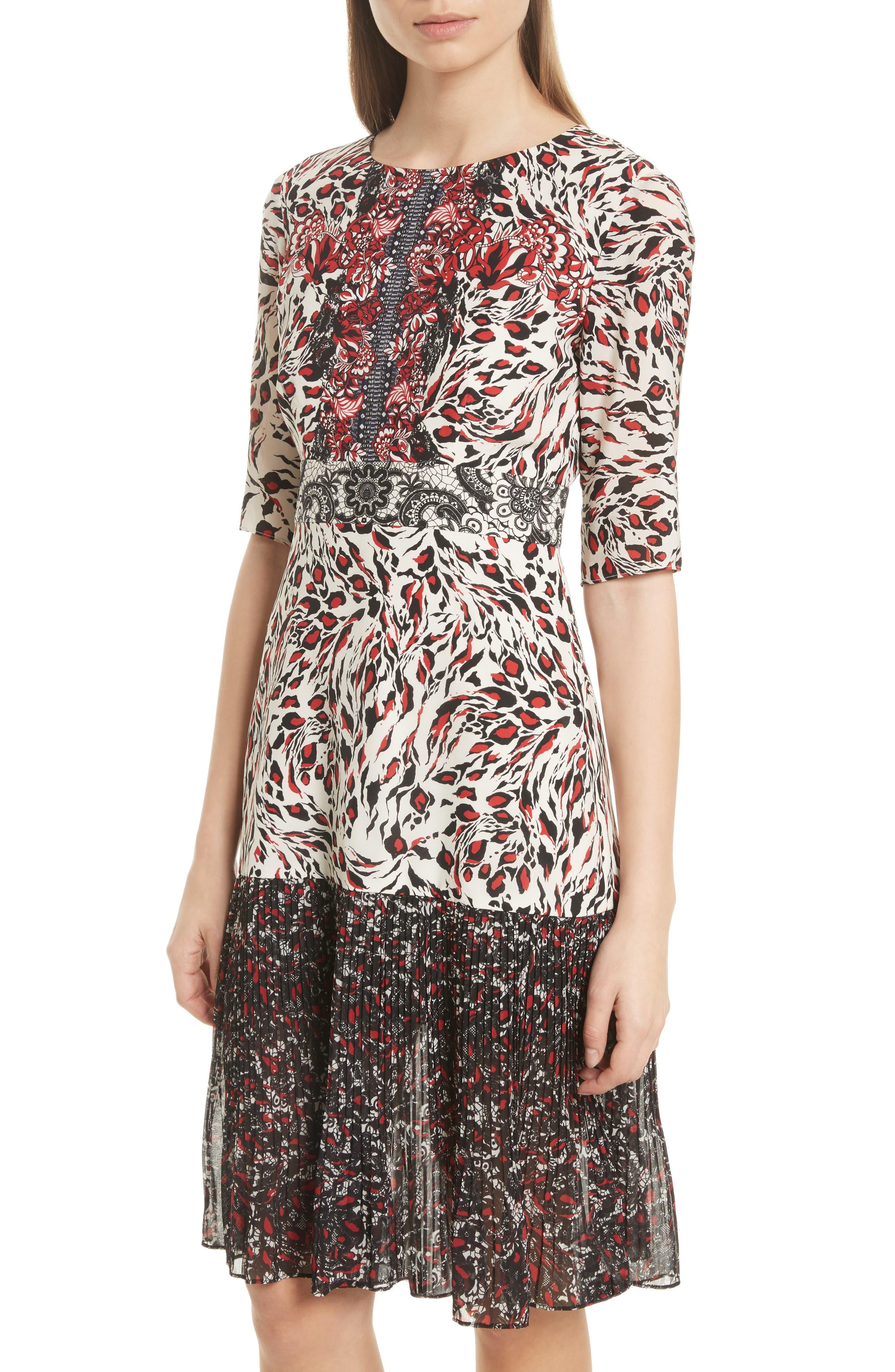 Vera Print Silk Dress,                             Alternate thumbnail 4, color,                             008