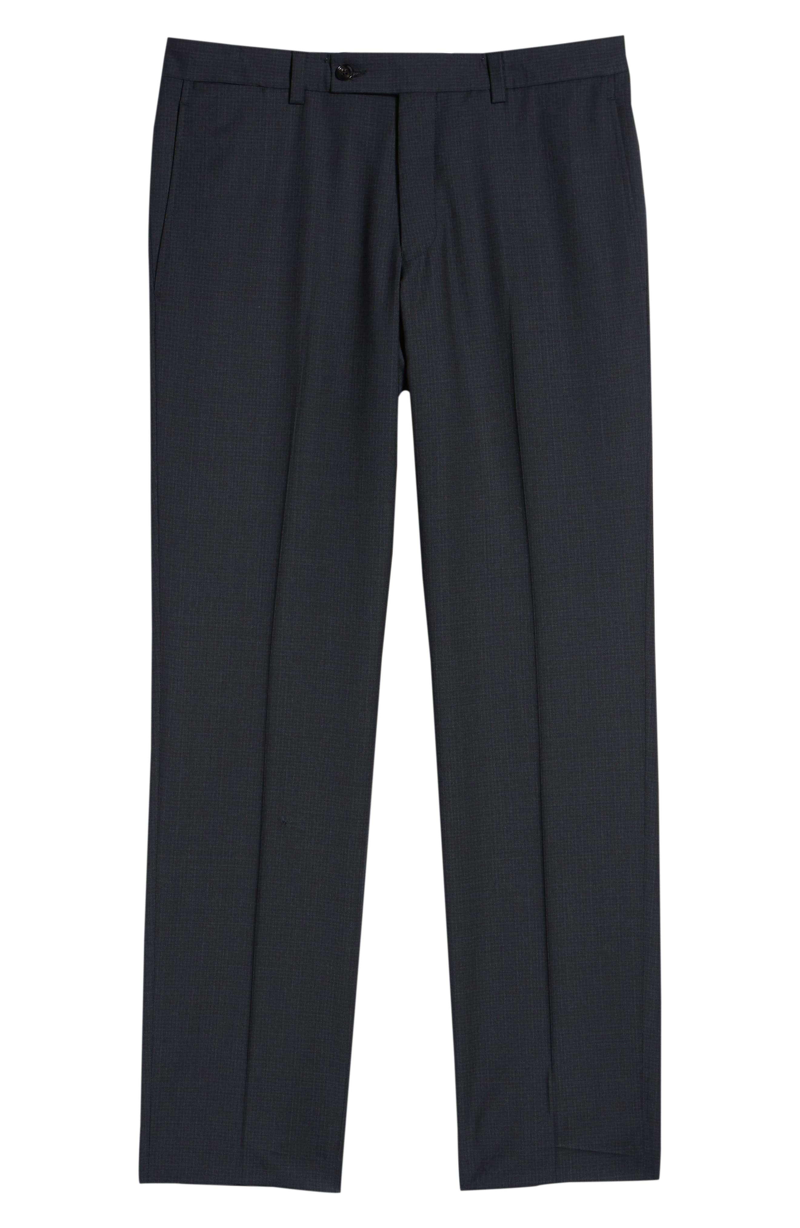 Jefferson Flat Front Check Wool Trousers,                             Alternate thumbnail 6, color,                             BROWN