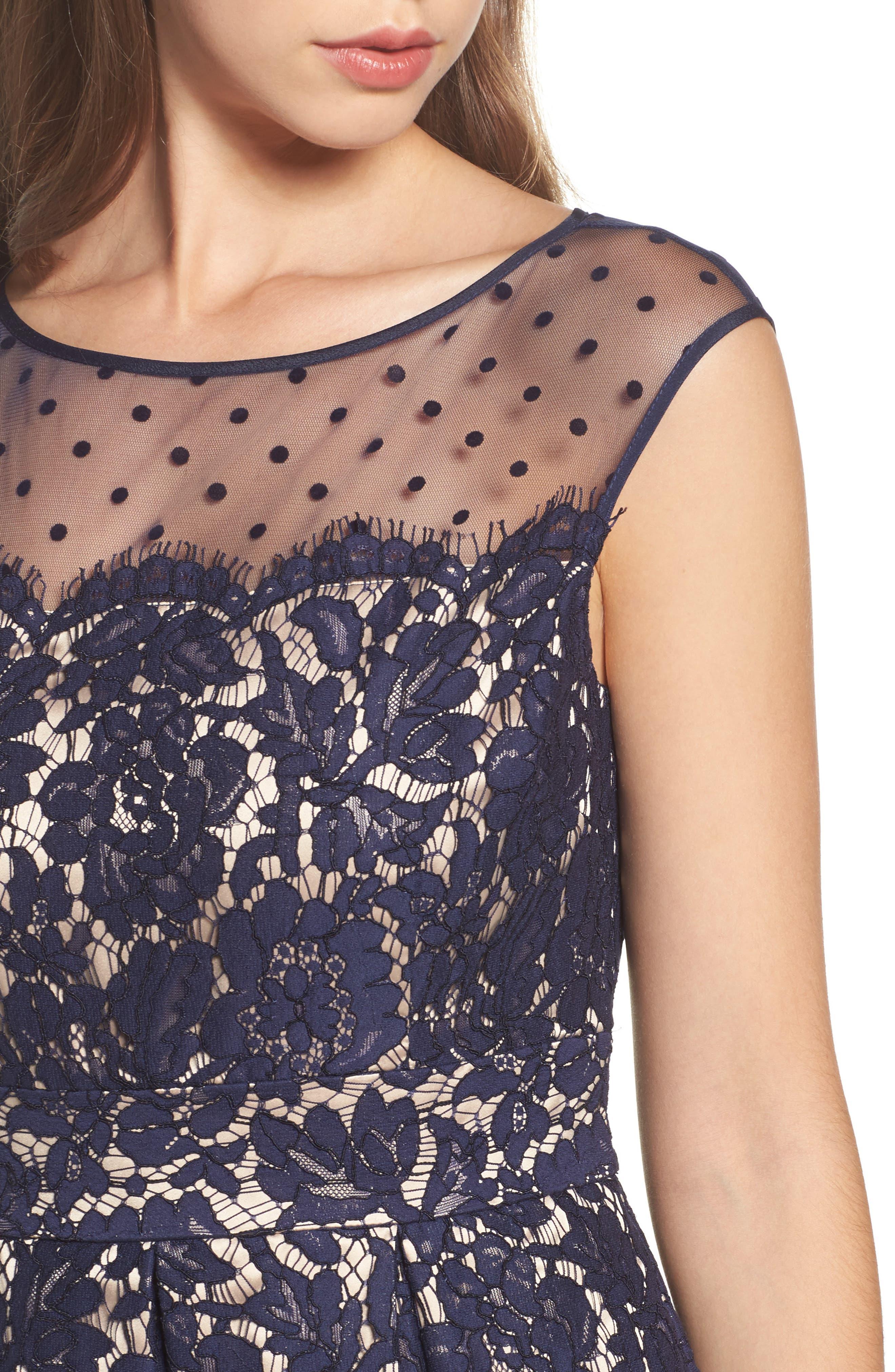 Illusion Yoke Lace Fit & Flare Dress,                             Alternate thumbnail 4, color,                             410