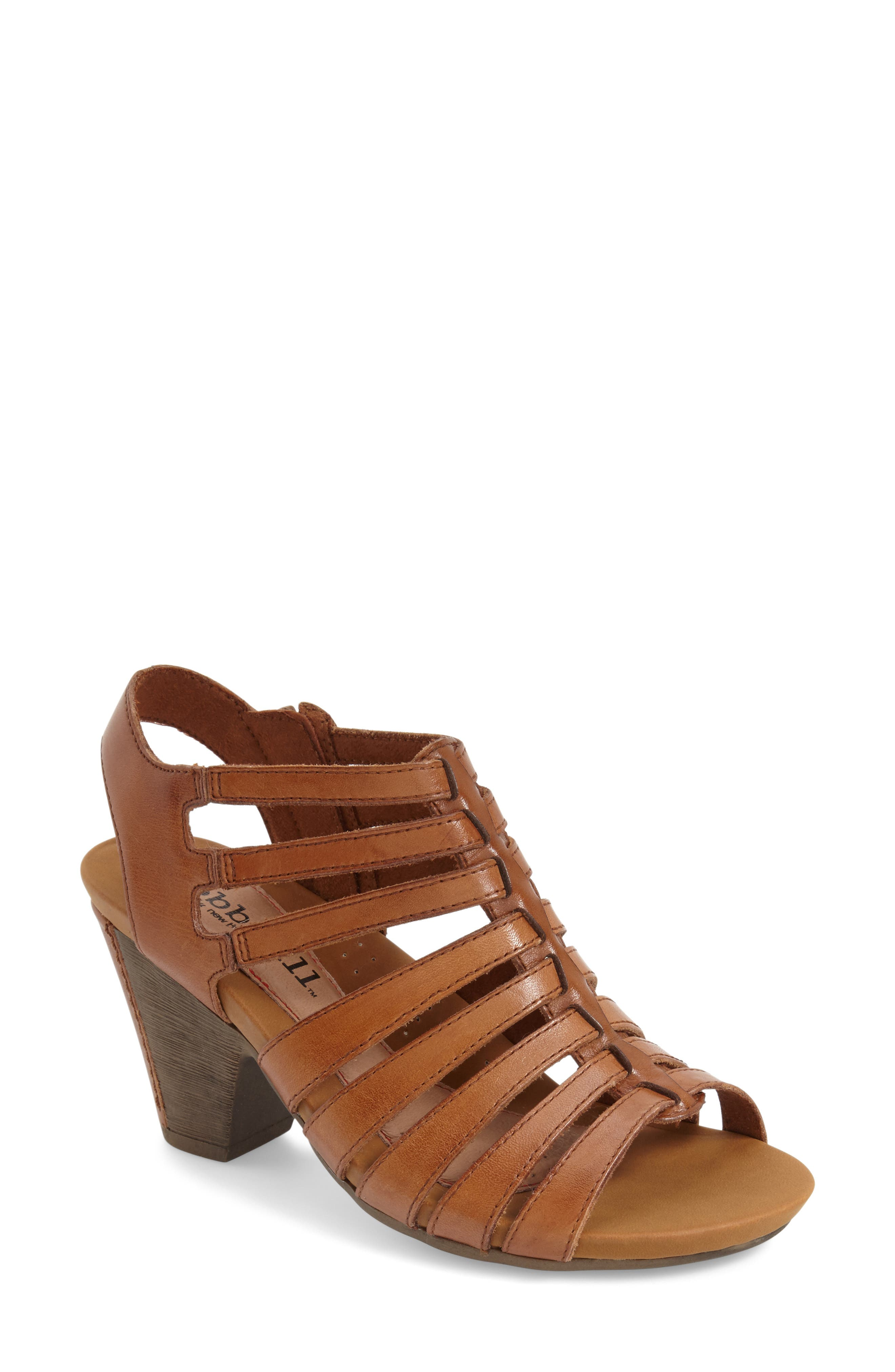 'Taylor' Caged Sandal,                             Alternate thumbnail 3, color,                             TAN LEATHER