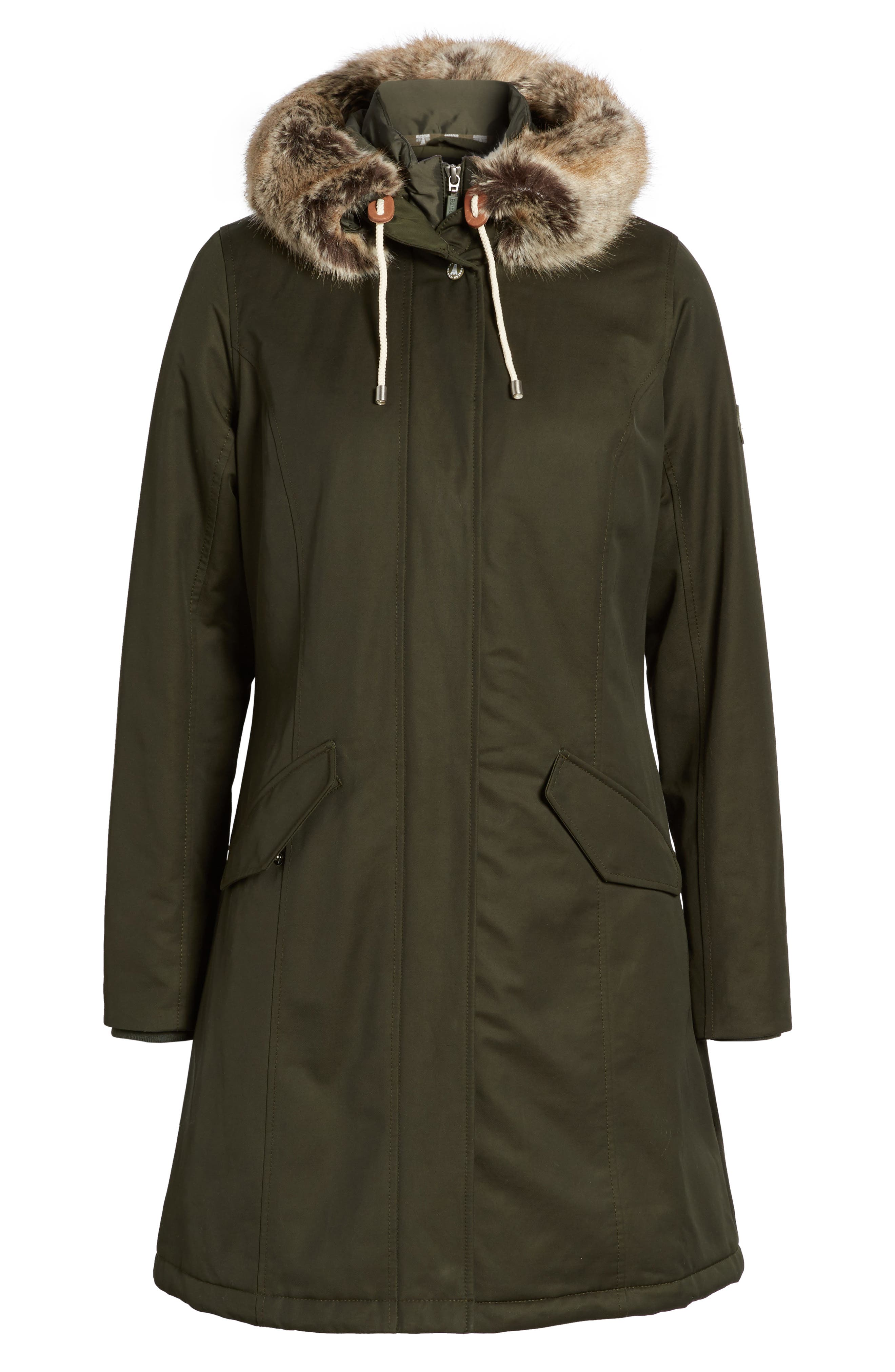 Filey Waterproof Hooded Jacket with Faux Fur Trim,                             Alternate thumbnail 5, color,                             302
