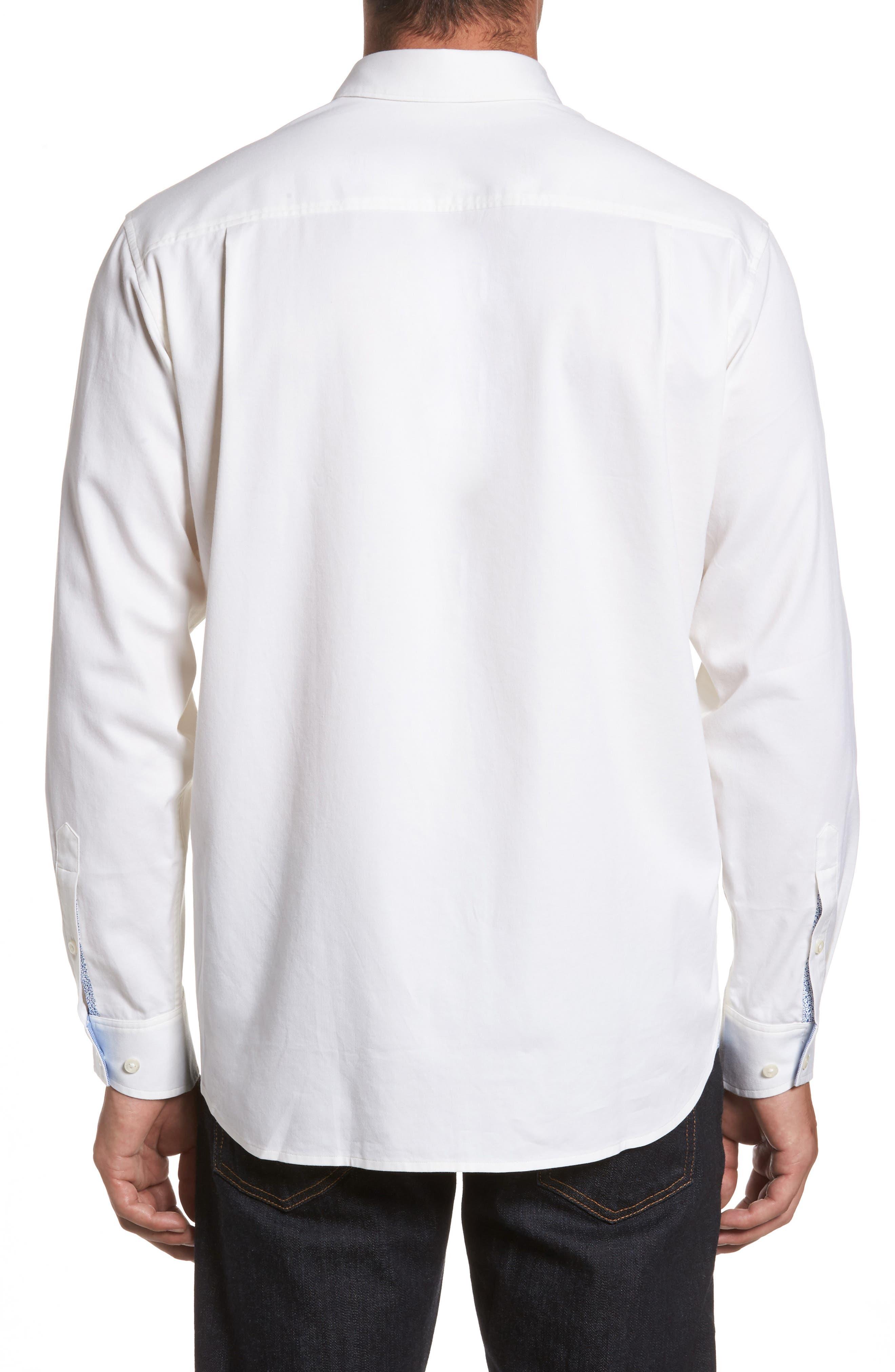 Oasis Twill Sport Shirt,                             Alternate thumbnail 2, color,                             WHITE