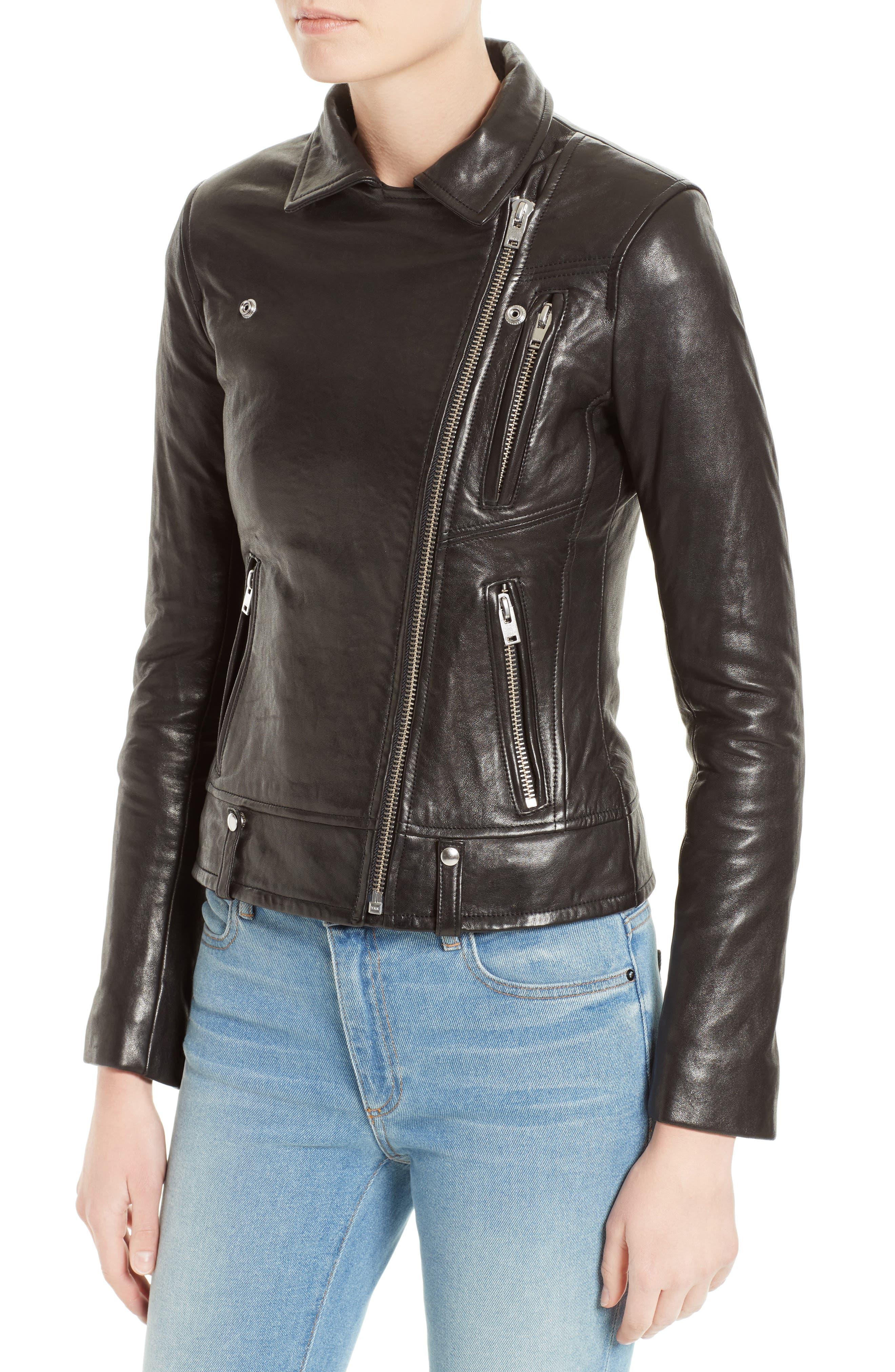 Jamie Leather Moto Jacket,                             Alternate thumbnail 4, color,                             001