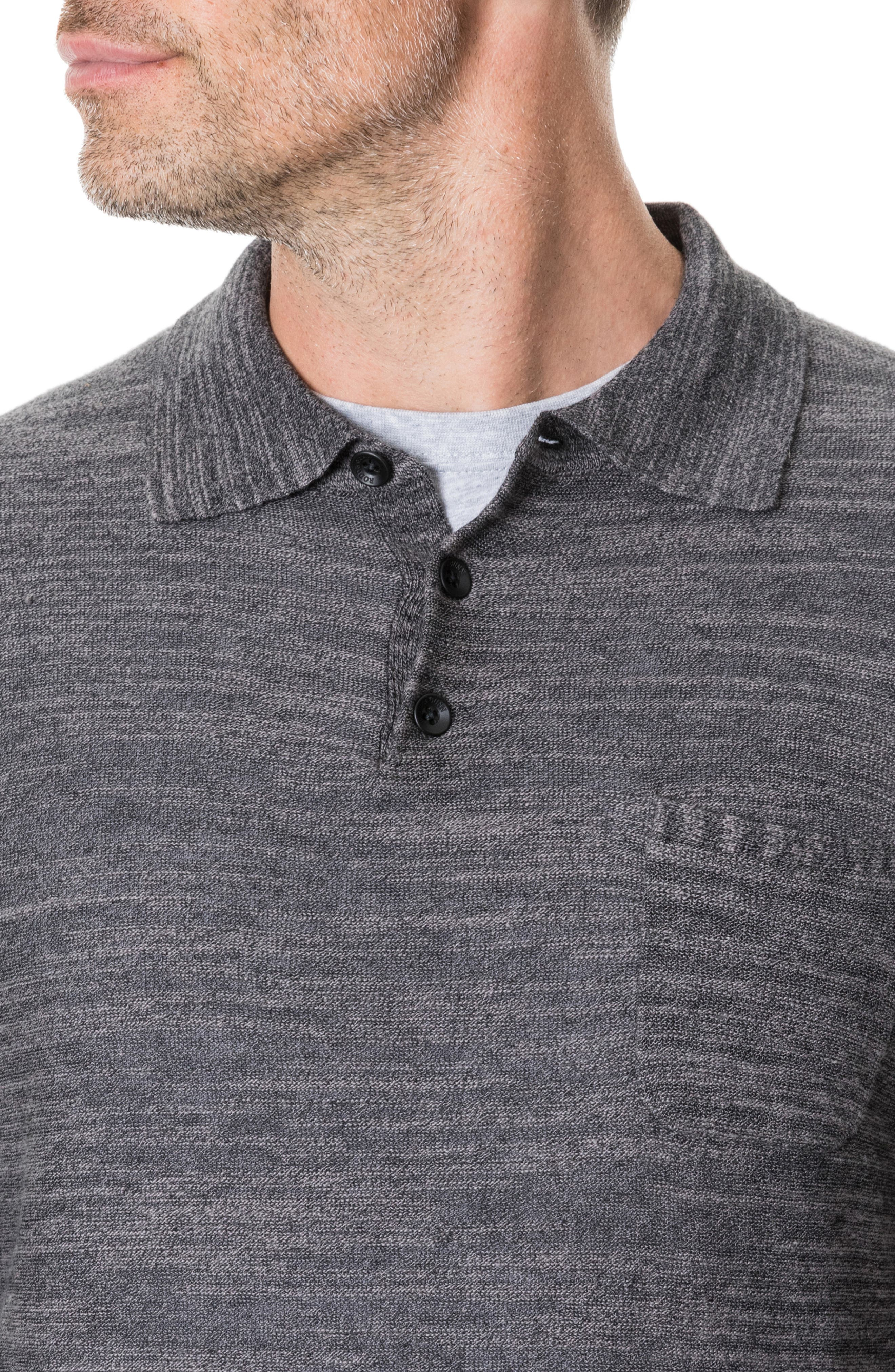 Barret Reef Long Sleeve Polo,                             Alternate thumbnail 4, color,                             CHARCOAL