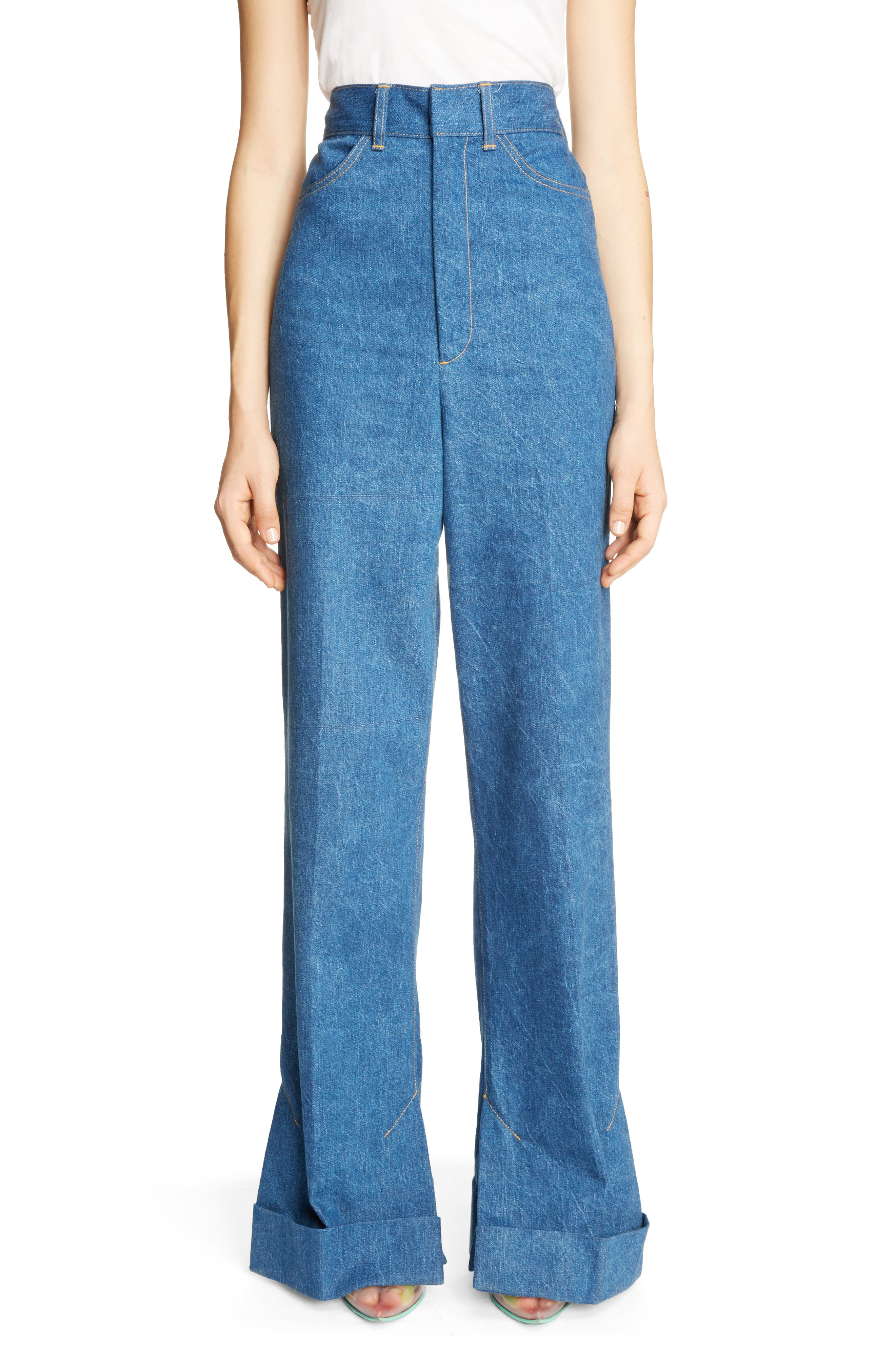 Cuffed Wide Leg Jeans,                             Main thumbnail 1, color,