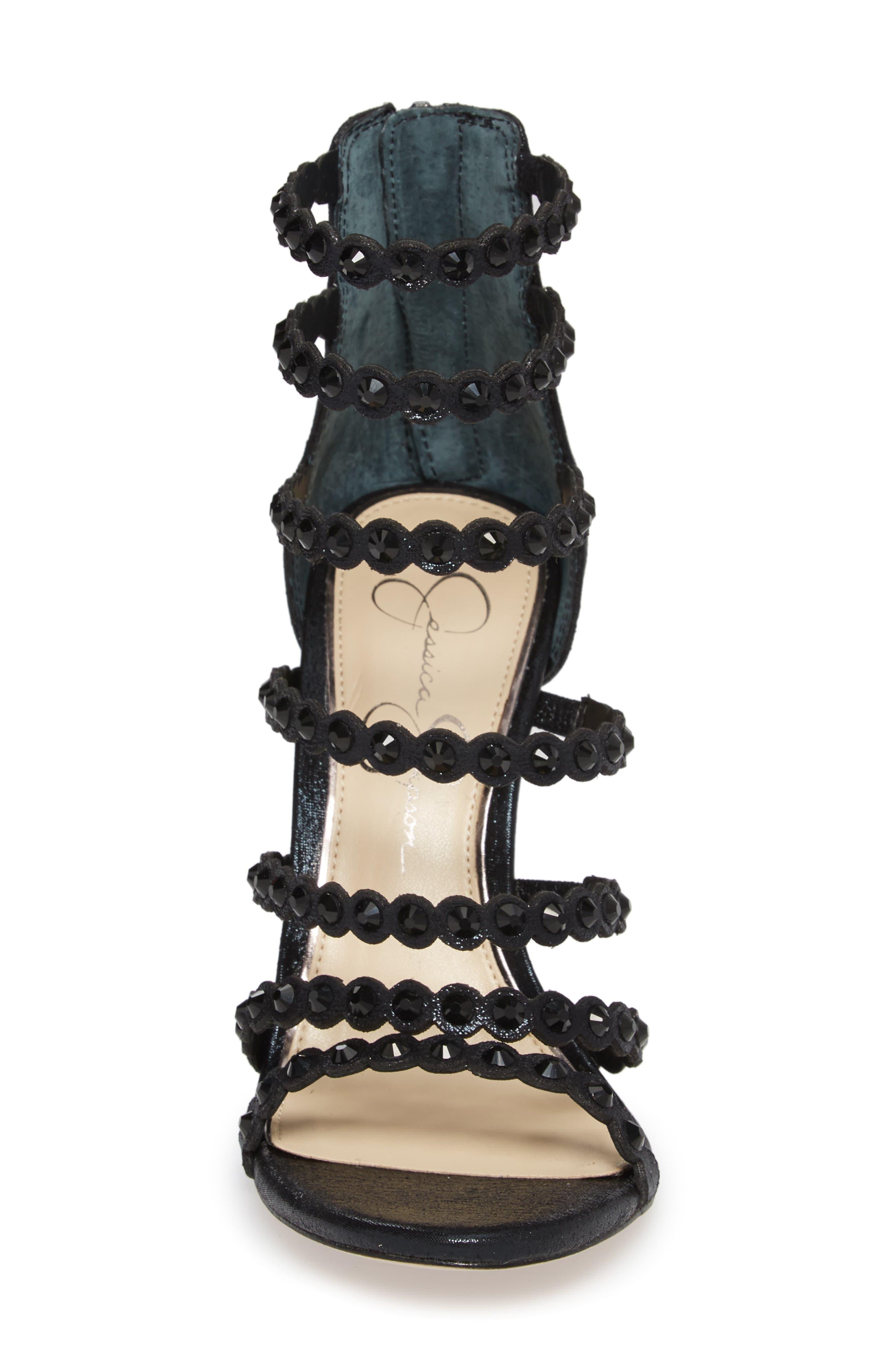 Jezalynn Embellished Sandal,                             Alternate thumbnail 4, color,                             001