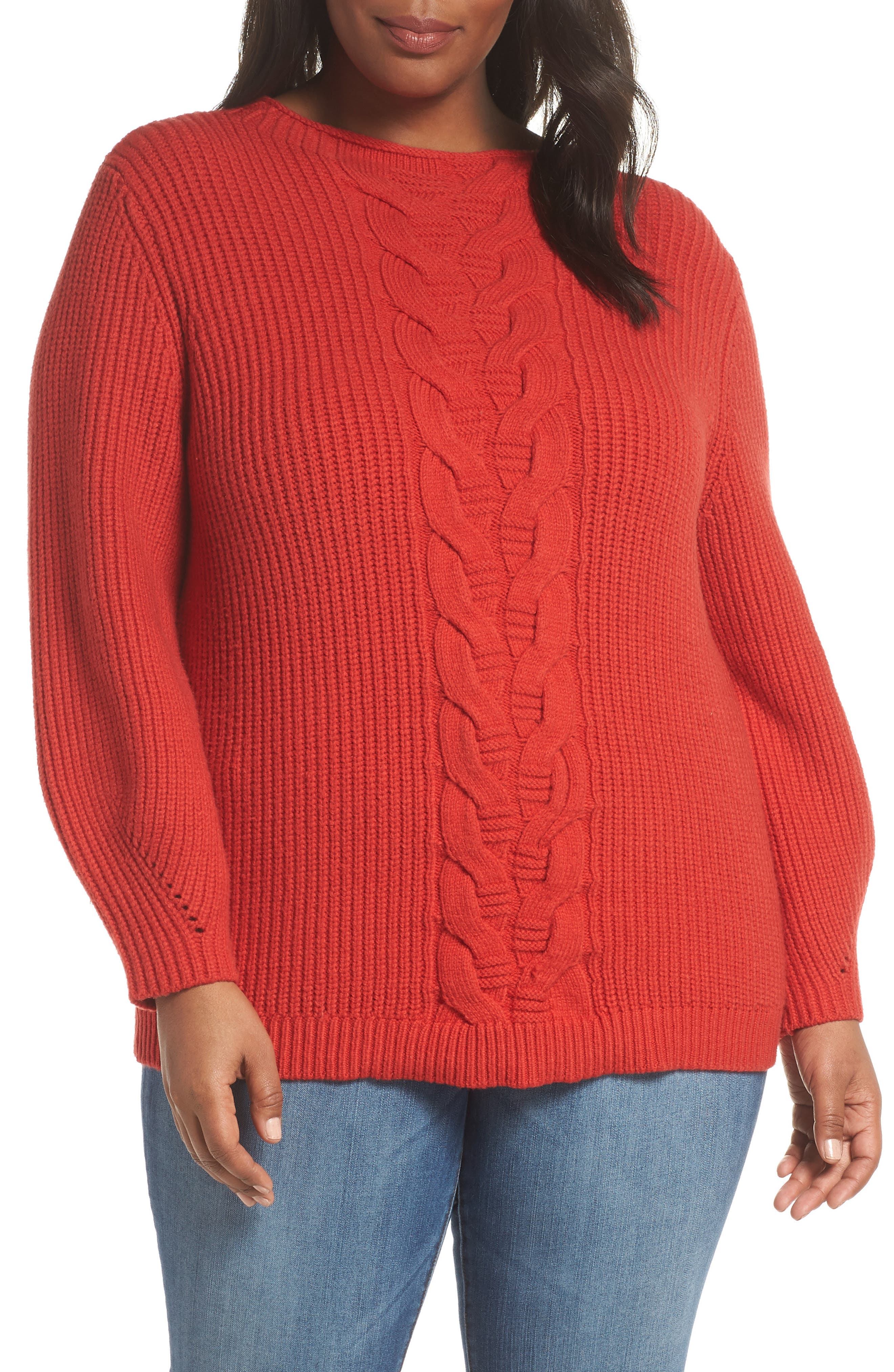 Cable Knit Sweater,                             Main thumbnail 1, color,                             RED BLOOM