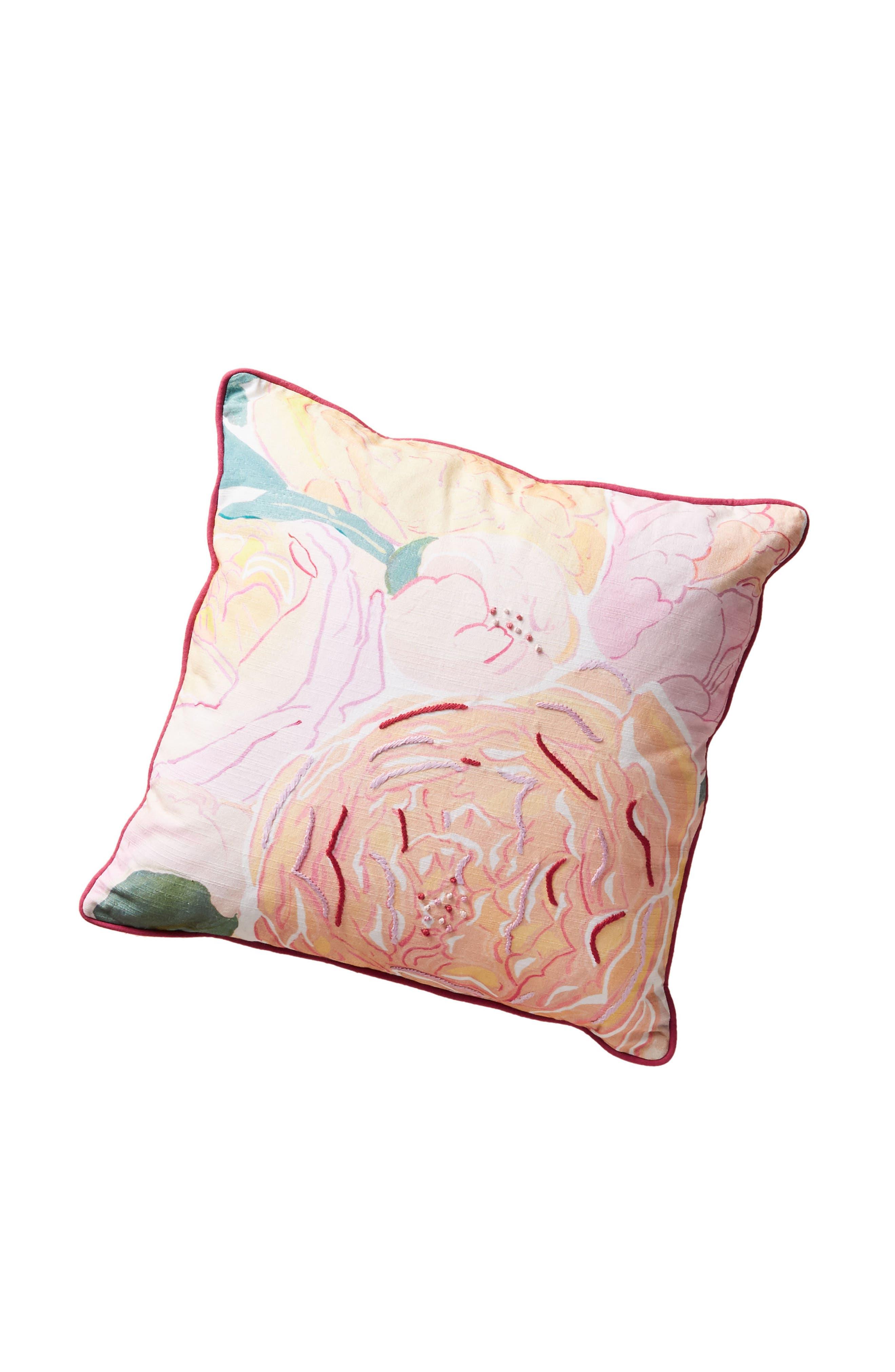 Paint + Petals Accent Pillow,                             Alternate thumbnail 4, color,                             YELLOW