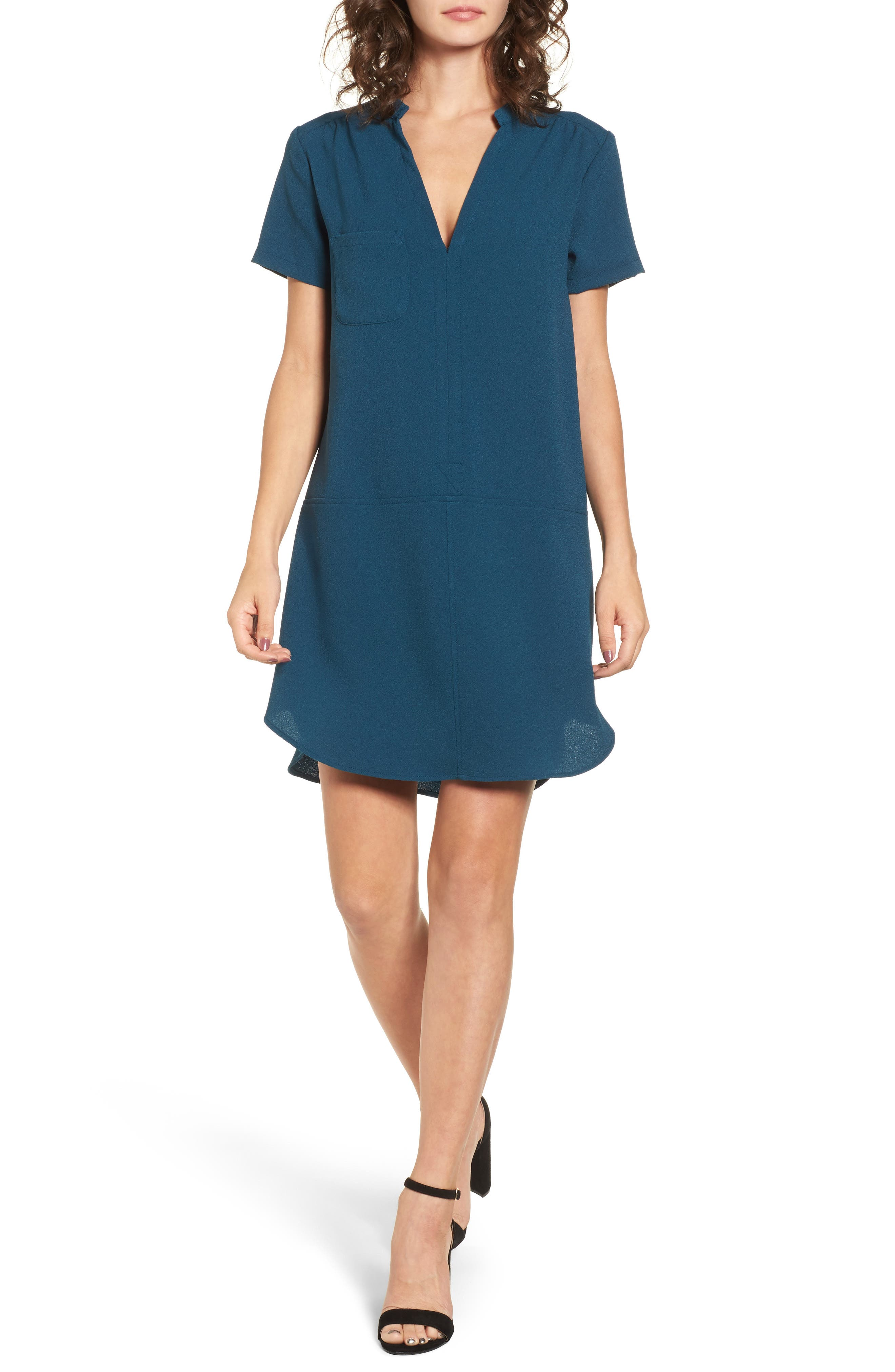 Hailey Crepe Dress,                             Main thumbnail 1, color,                             BLUE CERAMIC