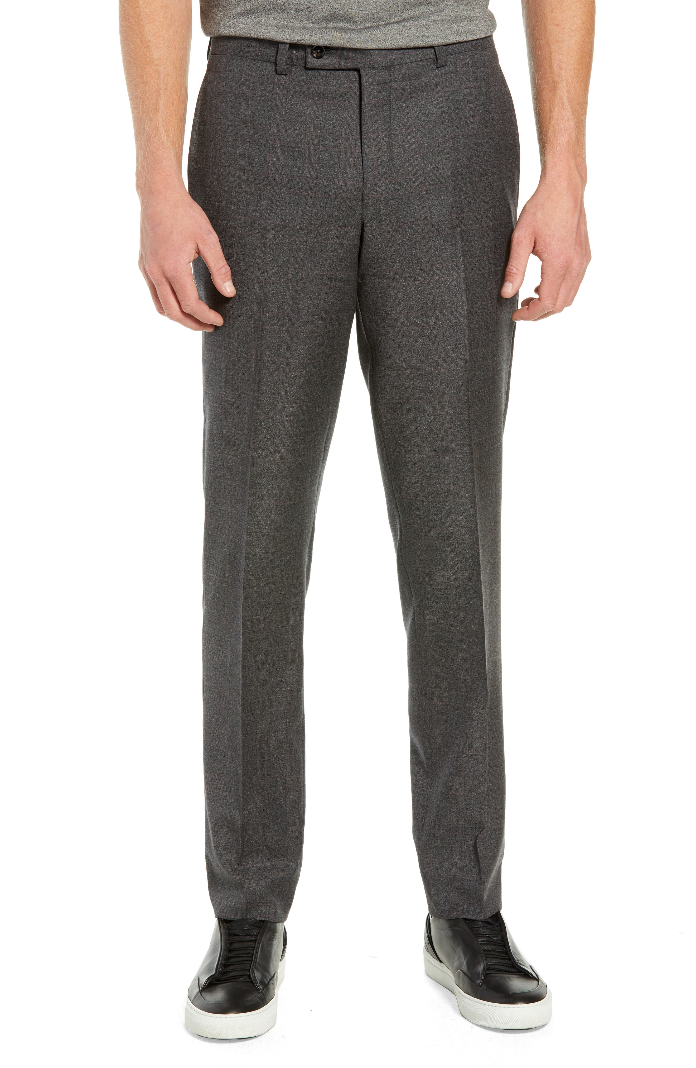 Jefferson Flat Front Plaid Wool Trousers,                             Main thumbnail 1, color,                             GREY