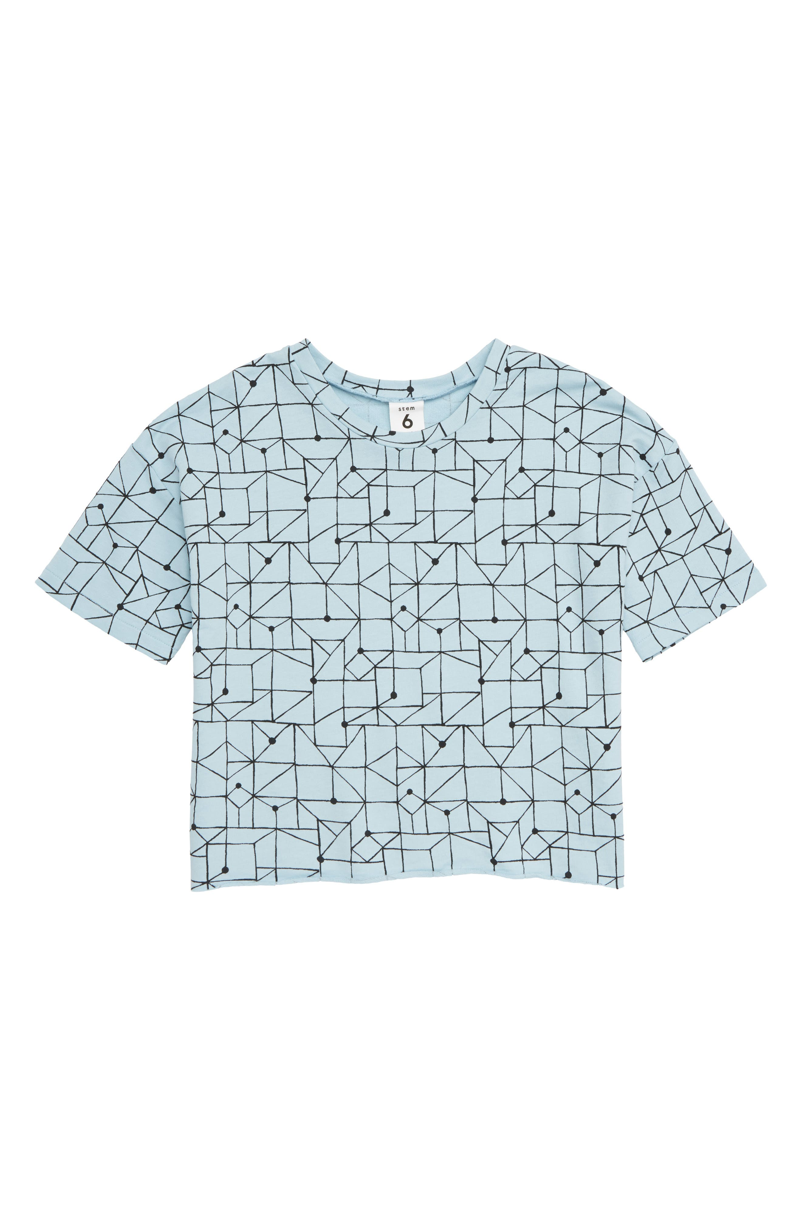 Boxy Terry Tee,                         Main,                         color, BLUE STERLING GRID