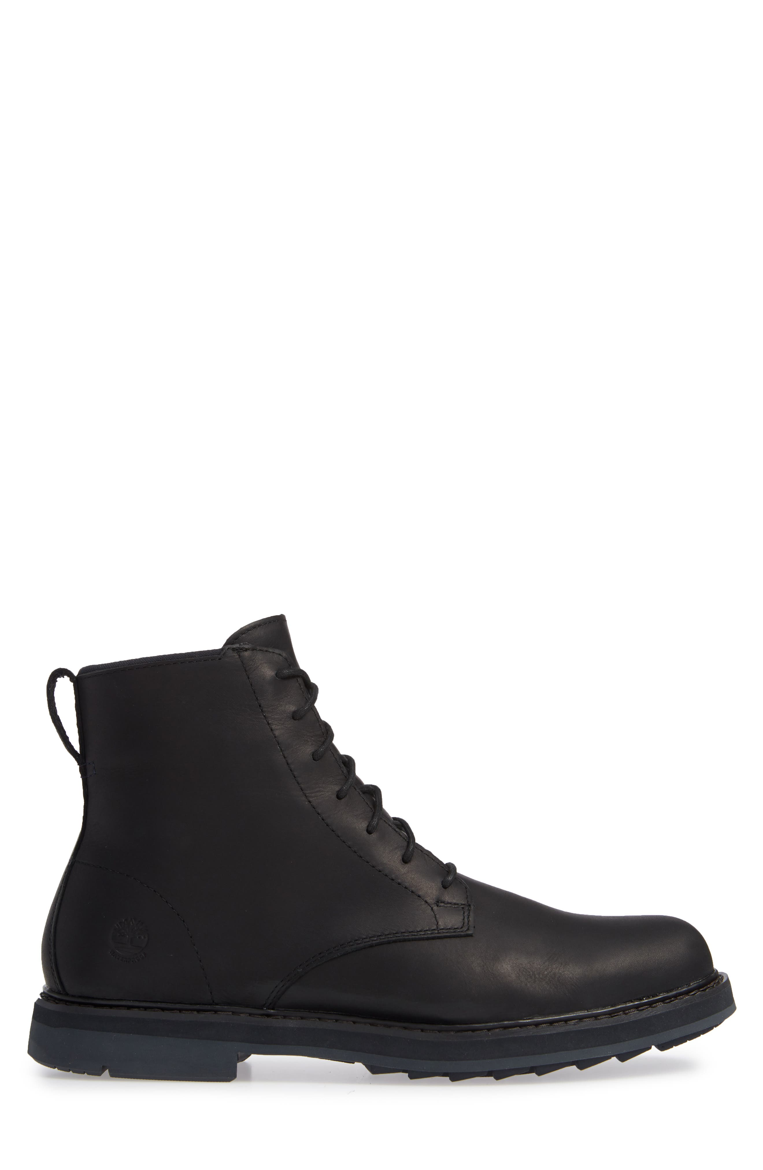 Squall Canyon Waterproof Plain Toe Boot,                             Alternate thumbnail 3, color,                             BLACK LEATHER