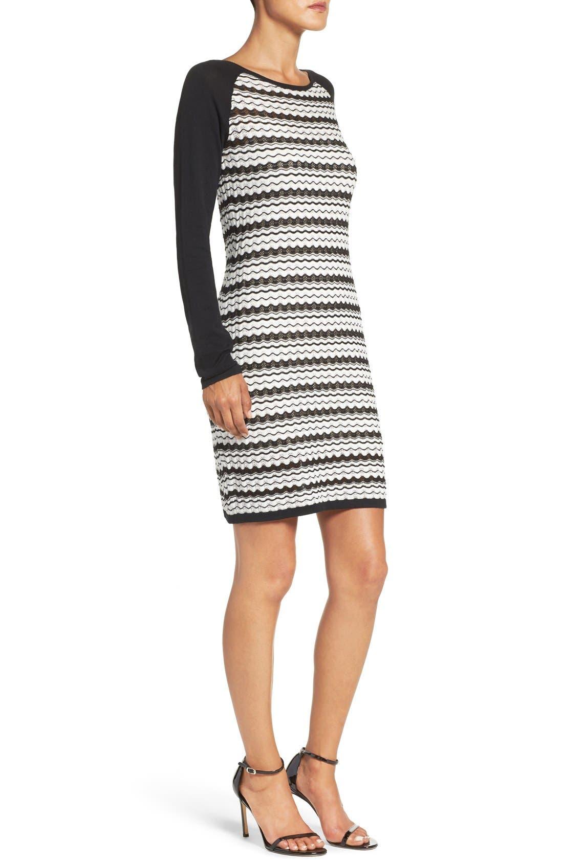 'Zeal' Pointelle Sweater Dress,                             Alternate thumbnail 4, color,                             001