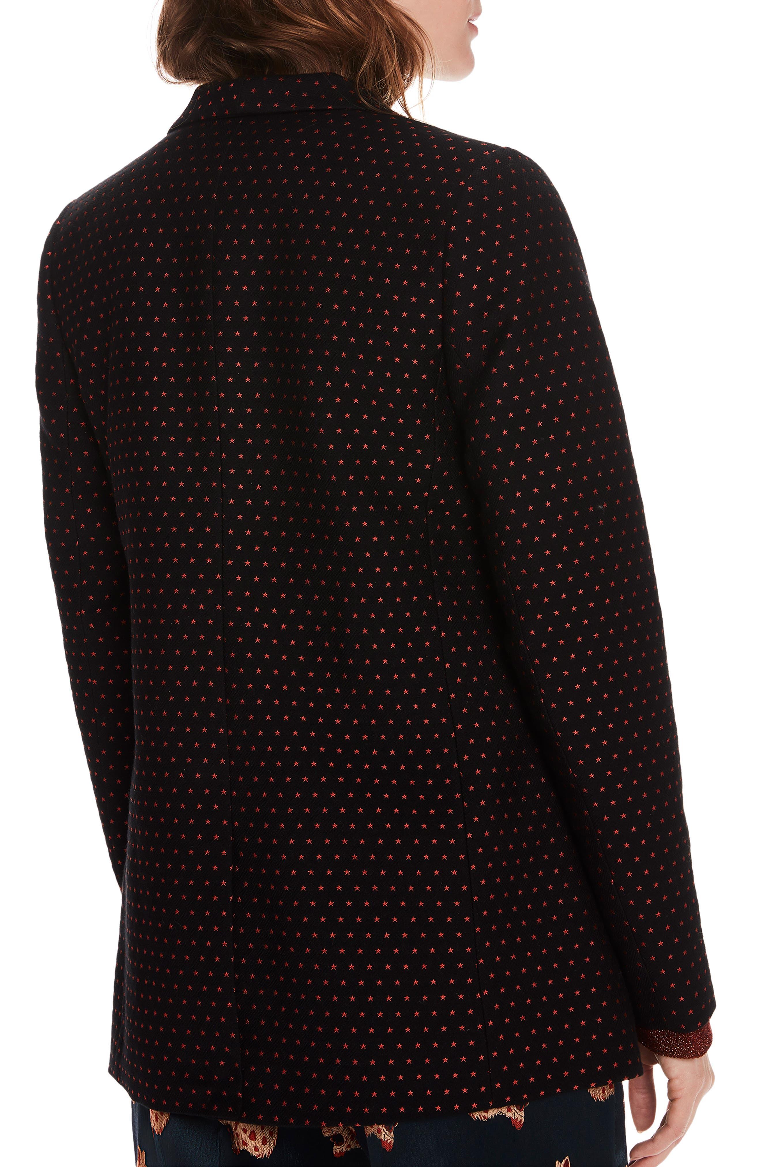 SCOTCH & SODA,                             Tailored Stretch Jacquard Blazer,                             Alternate thumbnail 2, color,                             BLACK W/ SMALL STAR PRINT