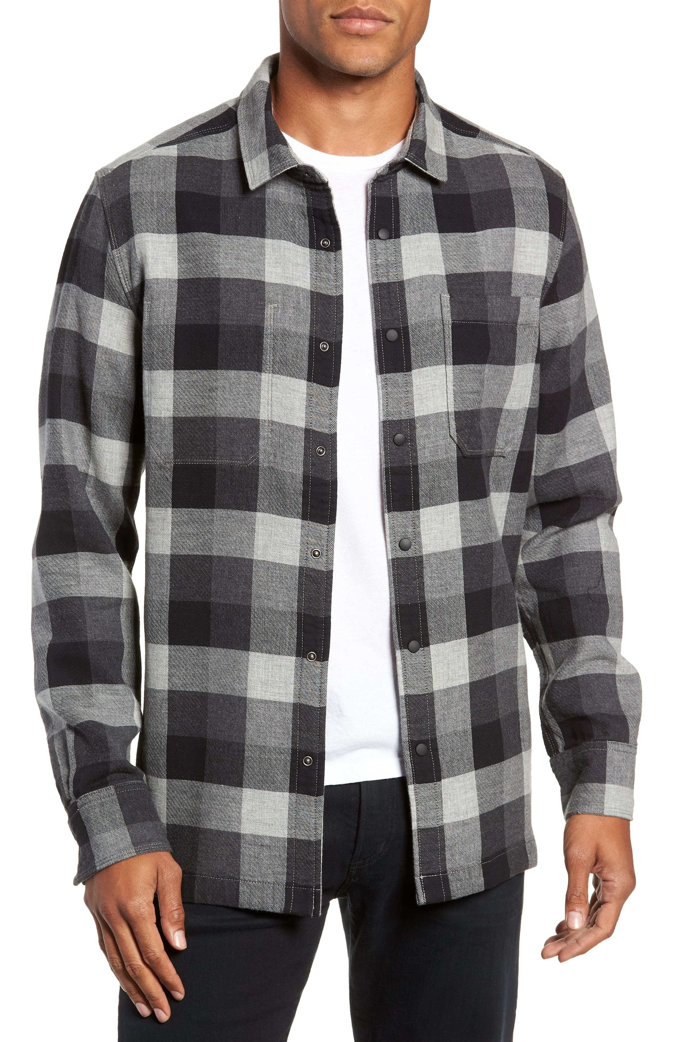 Jeremiah Travis Regular Fit Reversible Flannel Shirt Jacket, Grey