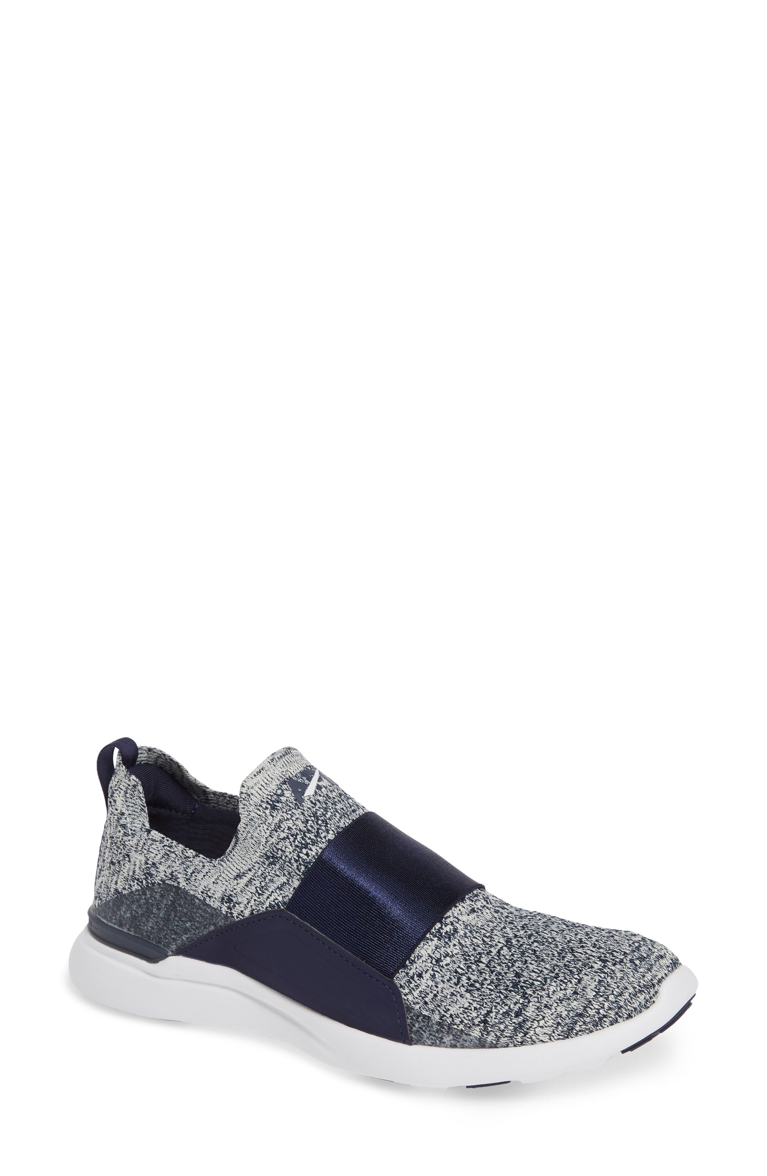 APL Techloom Bliss Knit Running Shoe, Main, color, NAVY/ PRISTINE/ WHITE