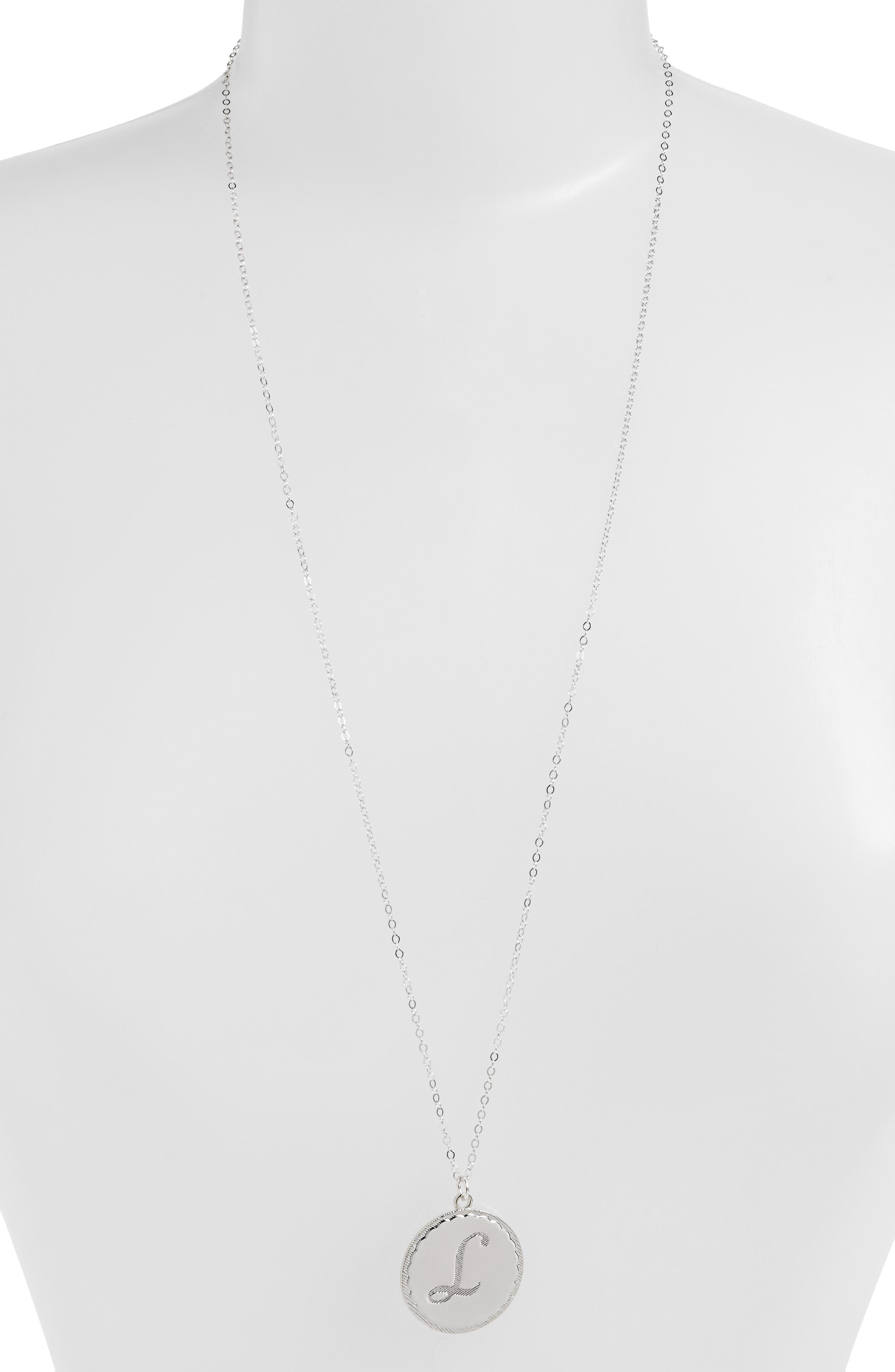 'Dalton' Long Initial Pendant Necklace,                             Alternate thumbnail 2, color,                             SILVER- L
