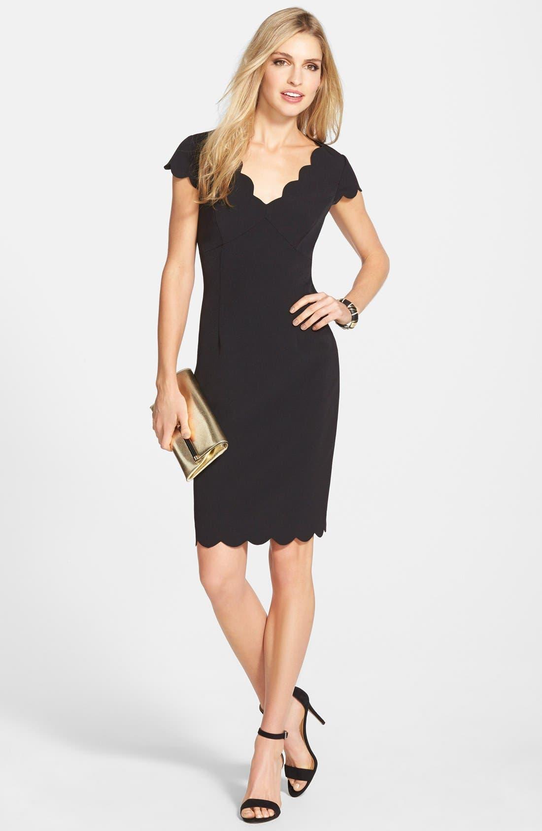 Scalloped Crepe Sheath Dress,                             Main thumbnail 1, color,                             BLACK
