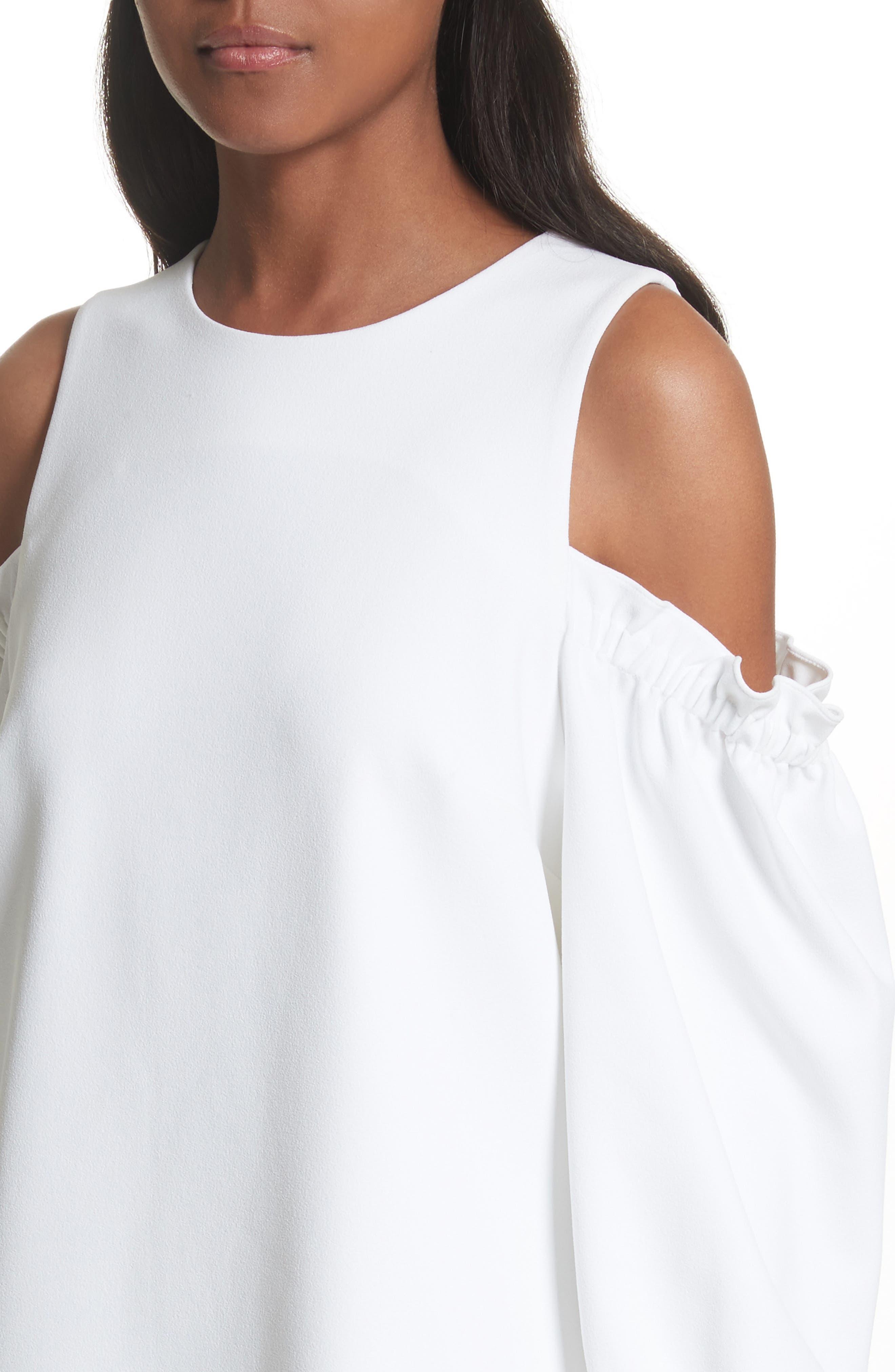 Crepe Cold Shoulder Shift Dress,                             Alternate thumbnail 4, color,                             100