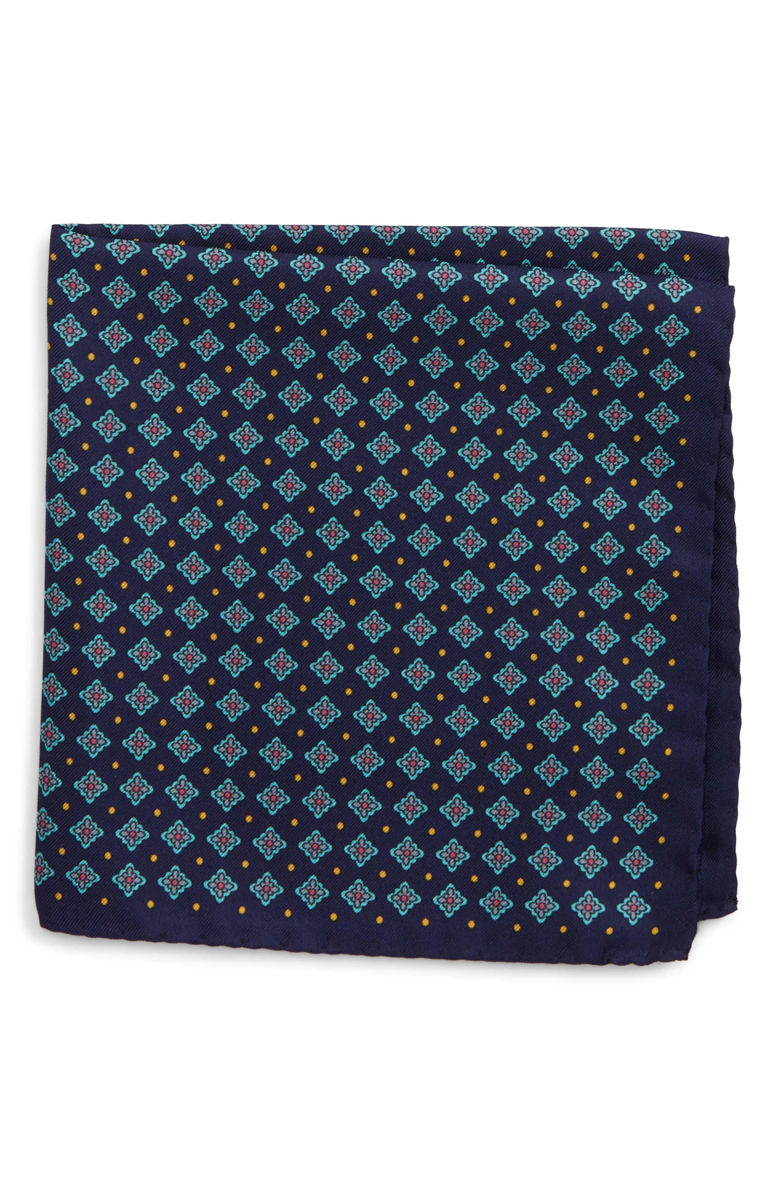 Medallion Silk Pocket Square,                             Main thumbnail 1, color,                             400