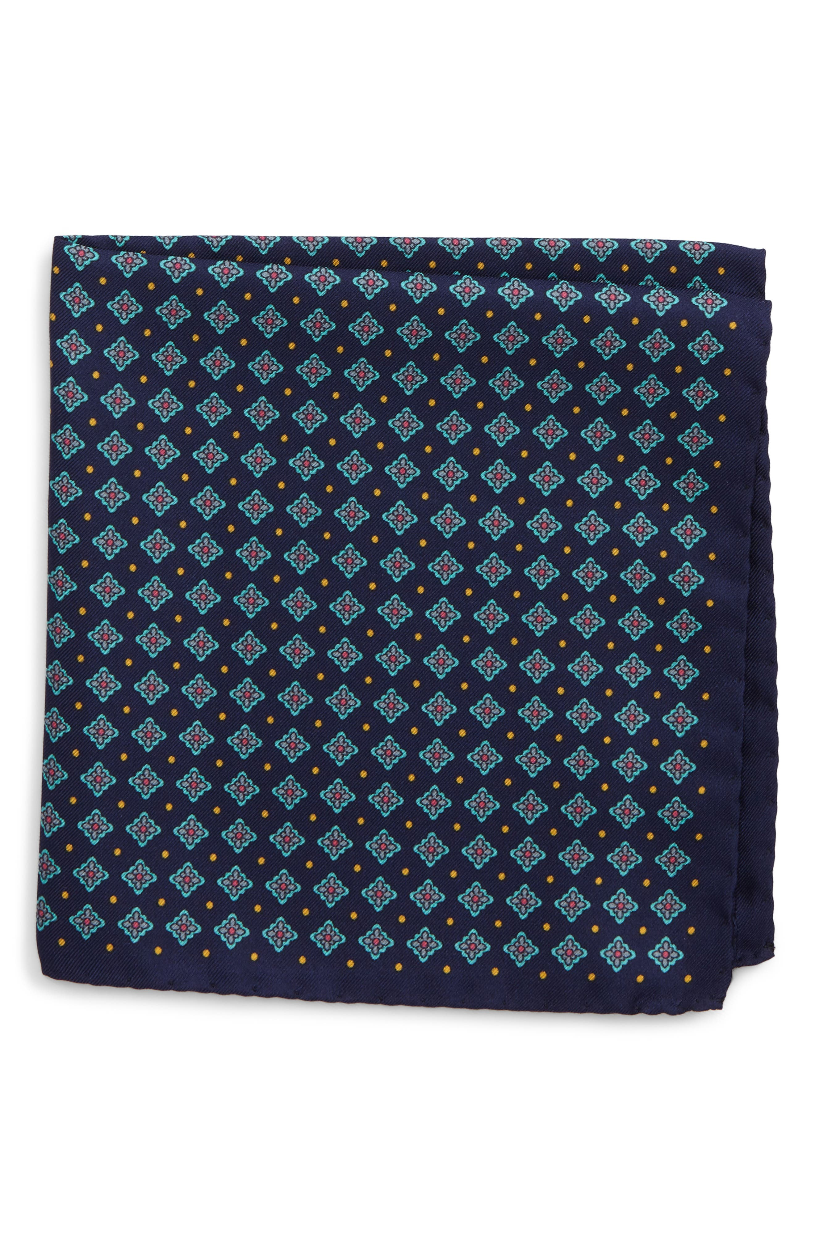 Medallion Silk Pocket Square,                         Main,                         color, 400