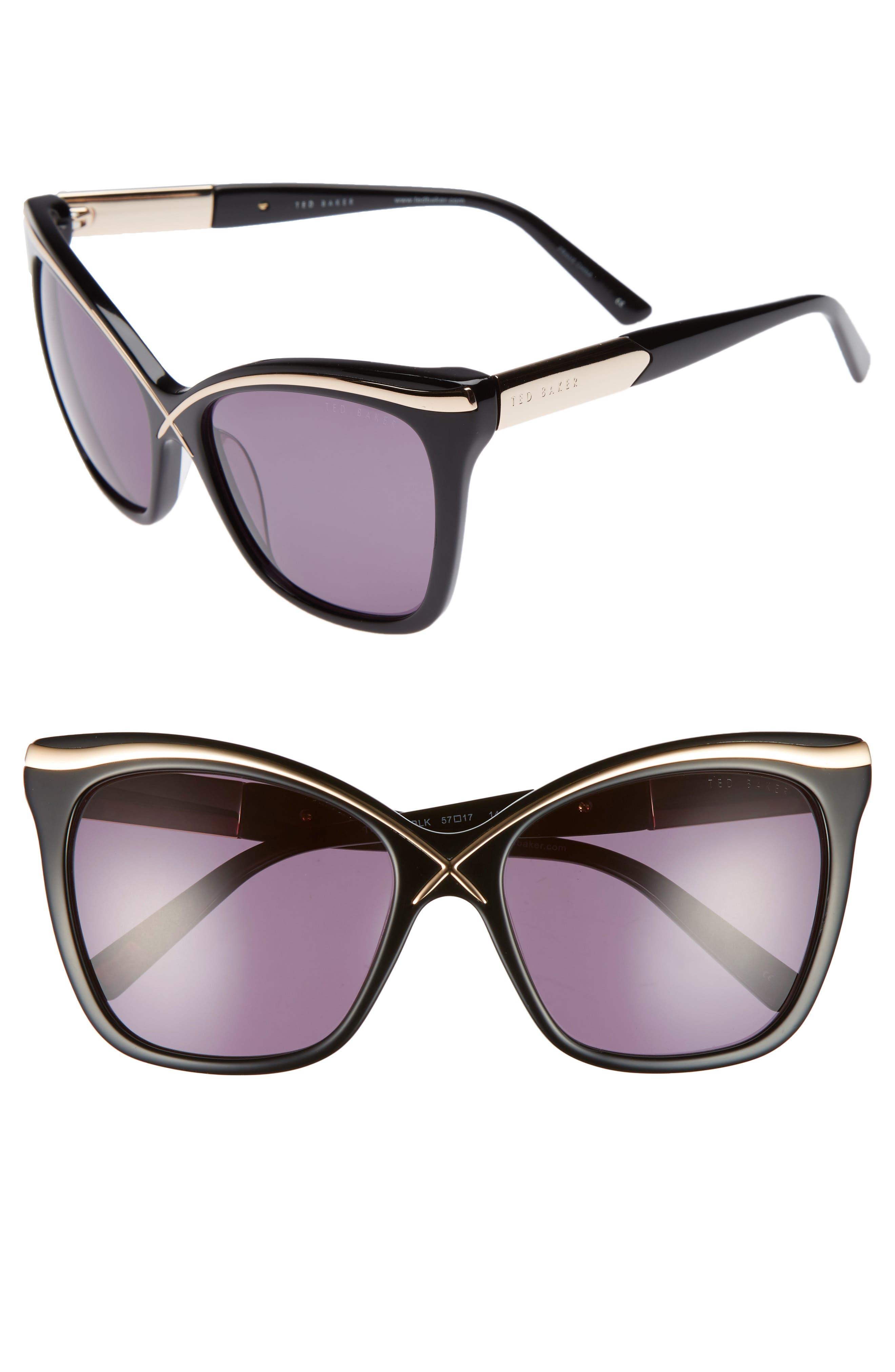 57mm Square Cat Eye Sunglasses,                             Main thumbnail 1, color,
