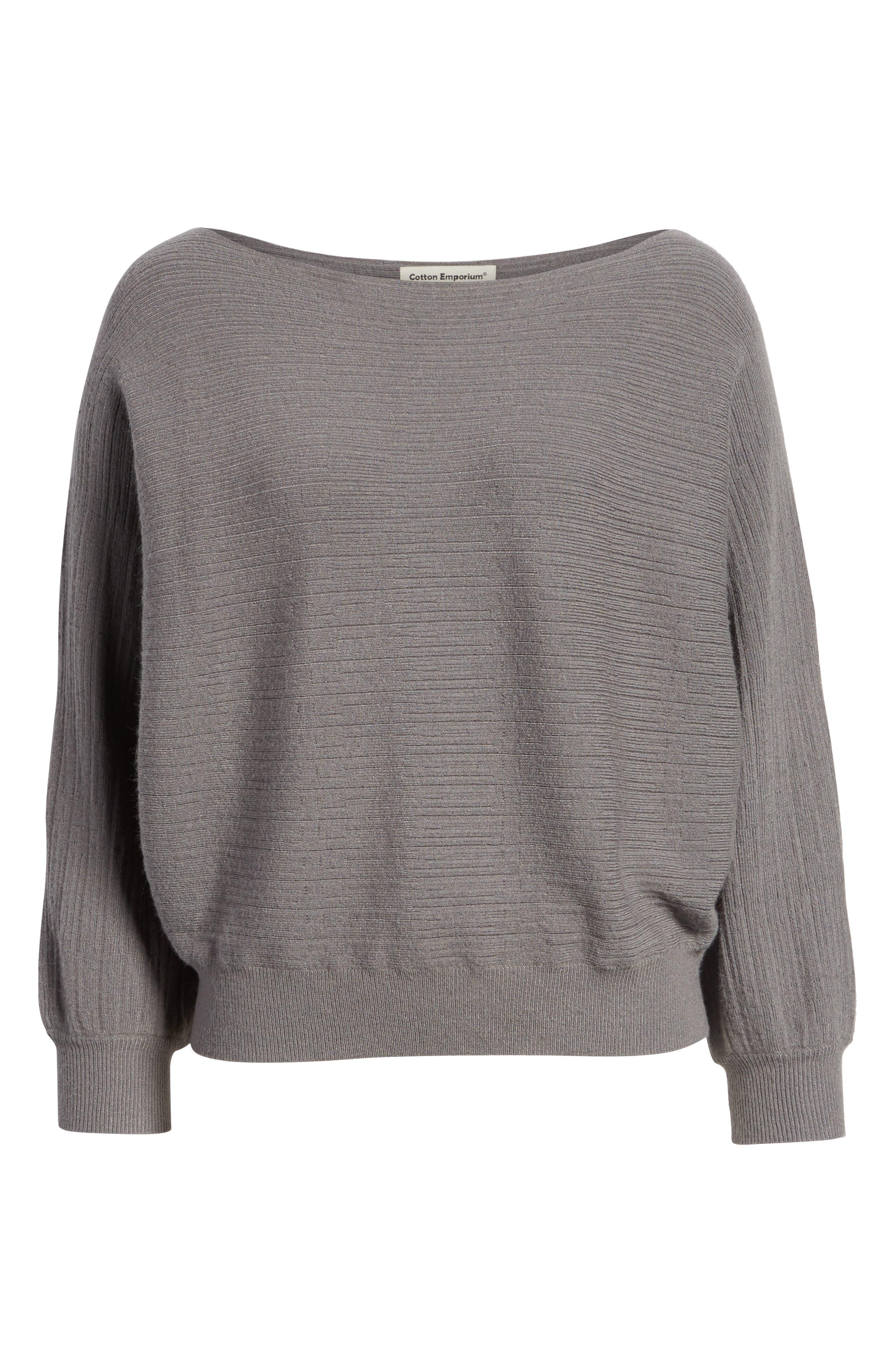 Dolman Boat Neck Sweater,                             Alternate thumbnail 6, color,                             STEEL GRAY
