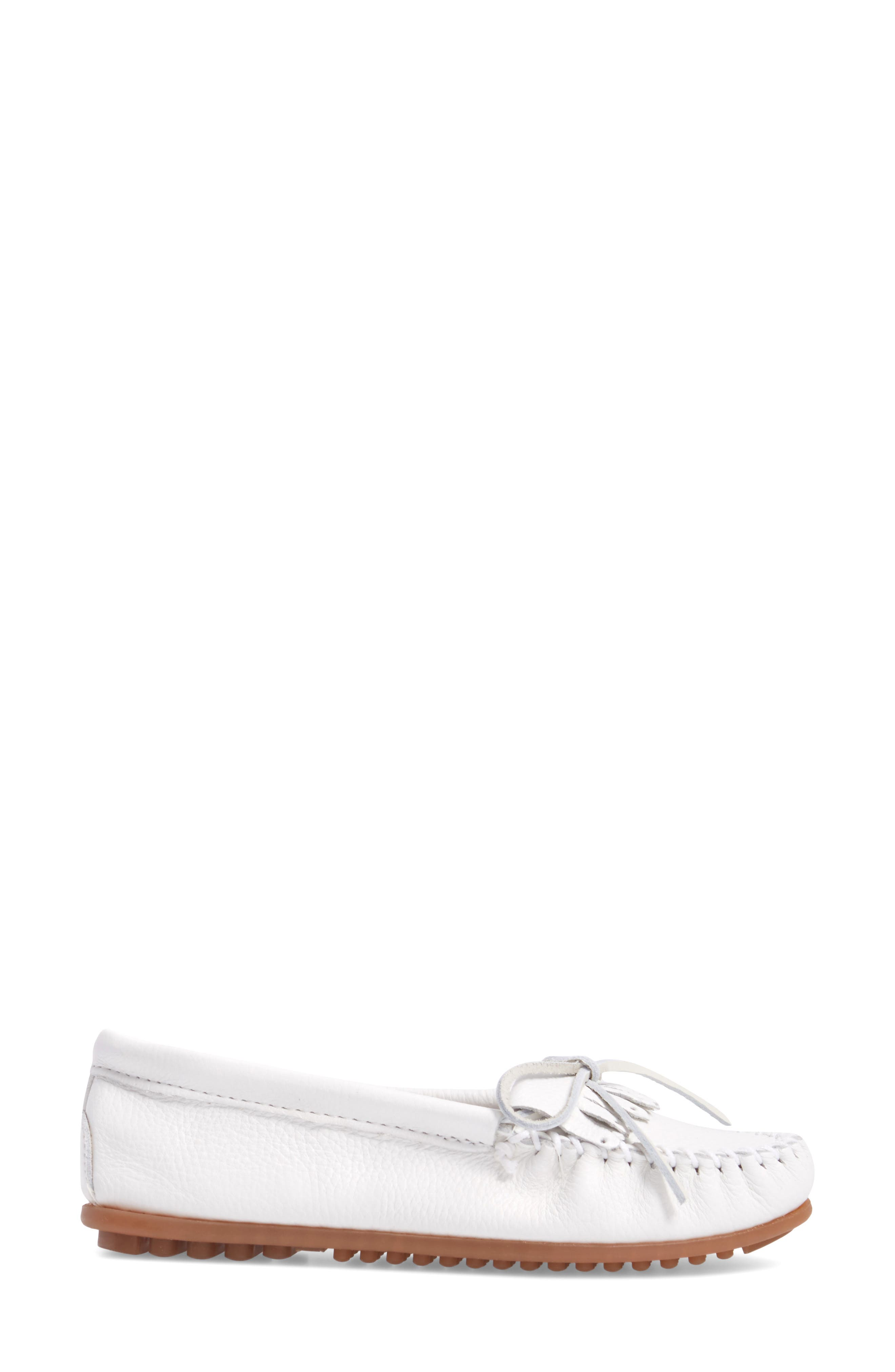 Kilty Moccasin,                             Alternate thumbnail 3, color,                             WHITE LEATHER