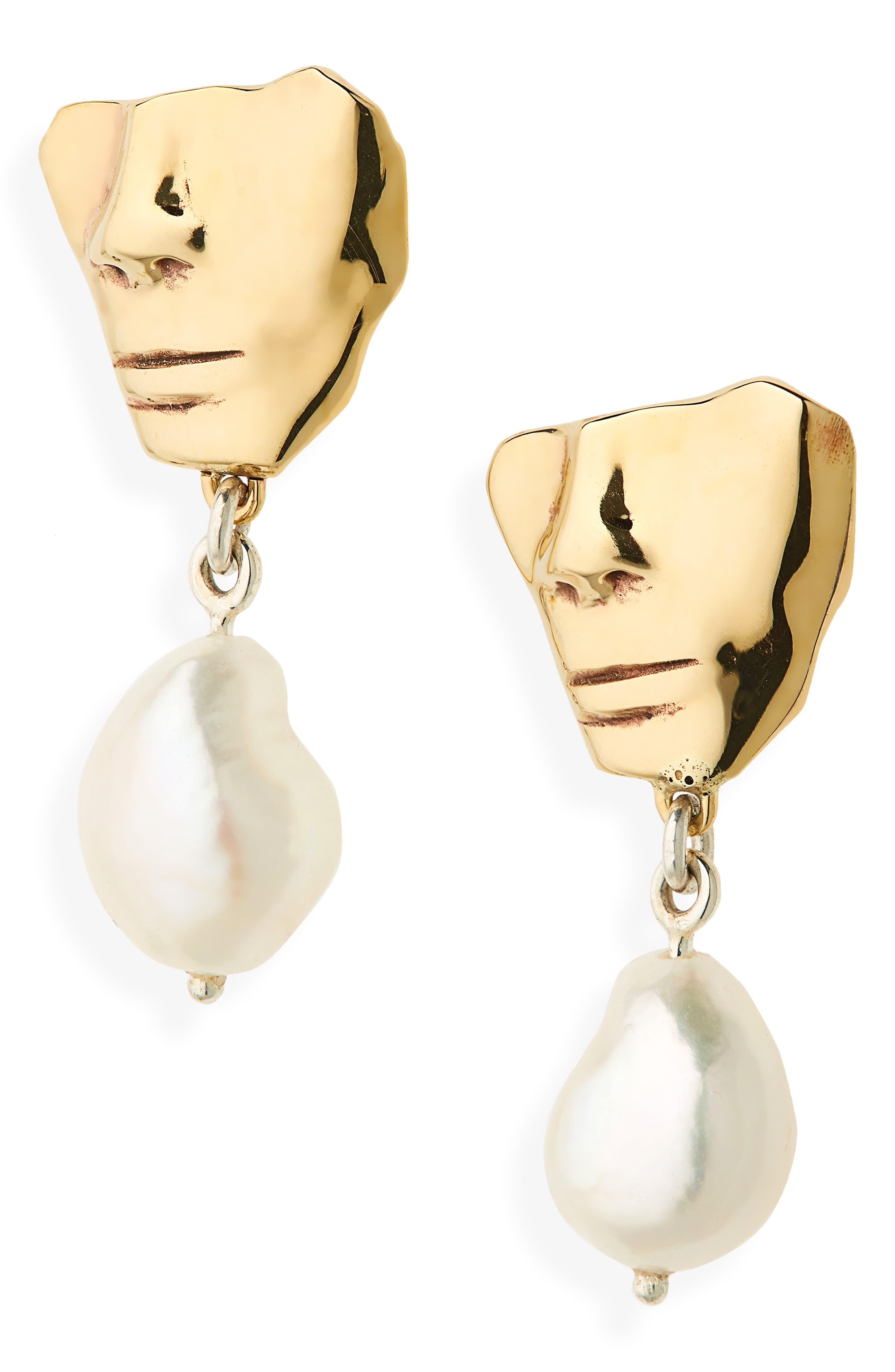 Portra Pearl Drop Earrings,                             Main thumbnail 1, color,                             BRONZE
