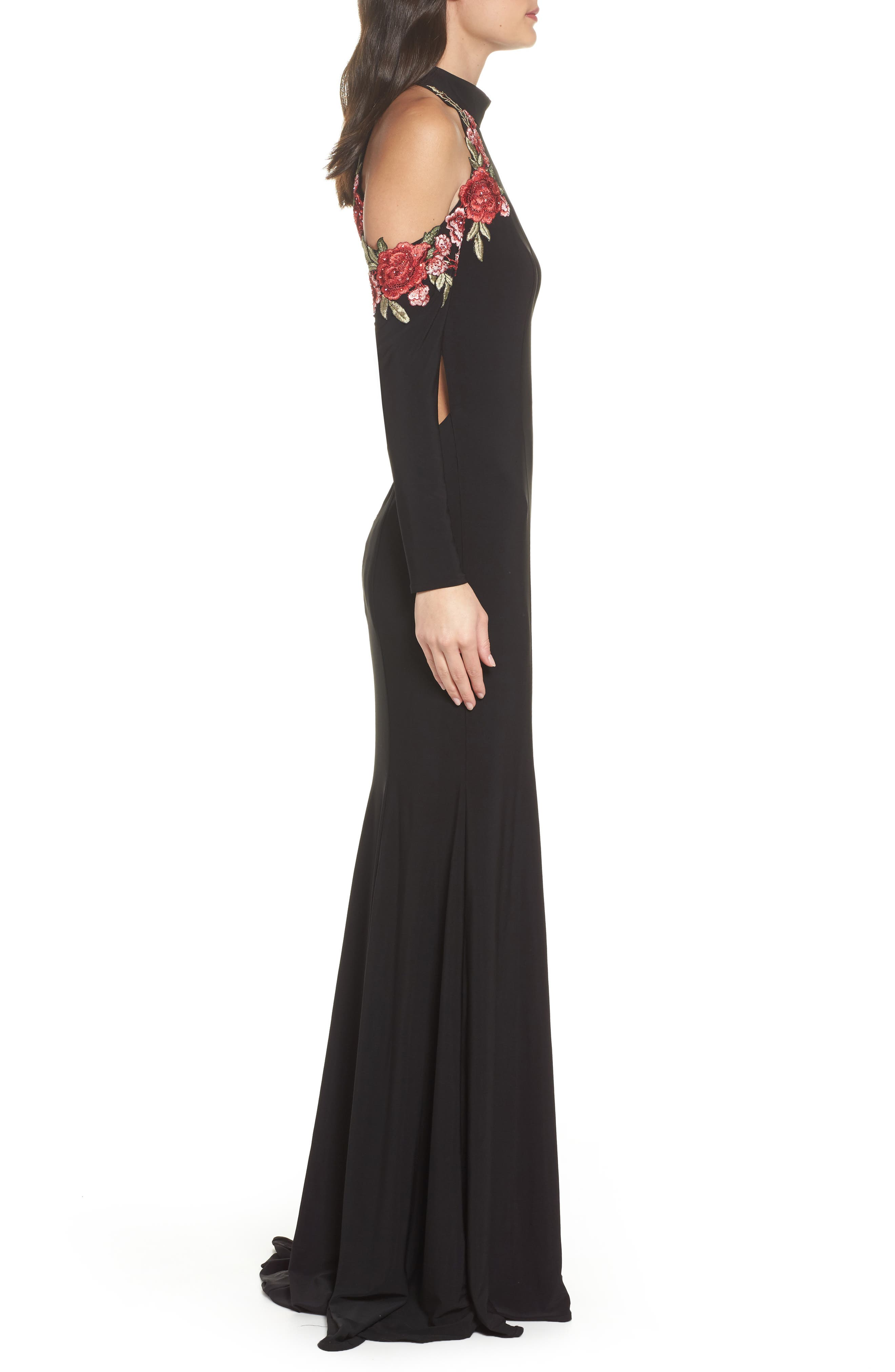 Cold Shoulder Jersey Gown,                             Alternate thumbnail 3, color,
