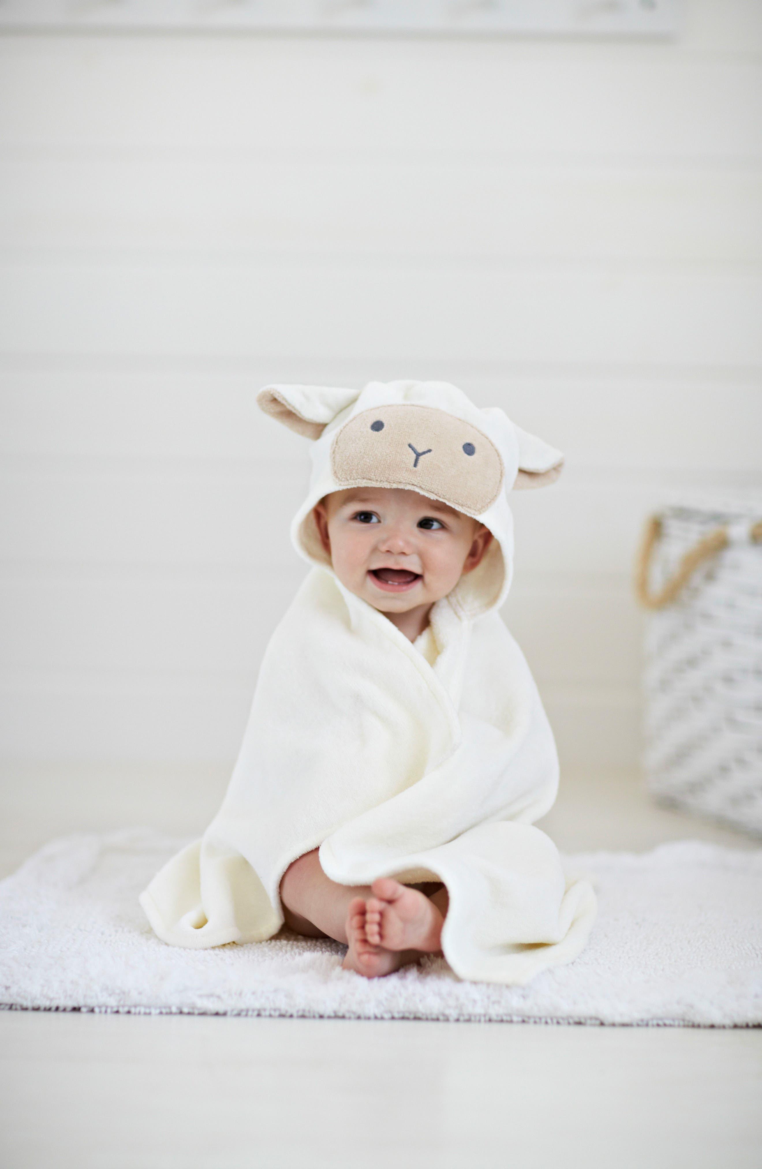 Terry Velour Hooded Lamb Towel,                             Alternate thumbnail 2, color,                             100