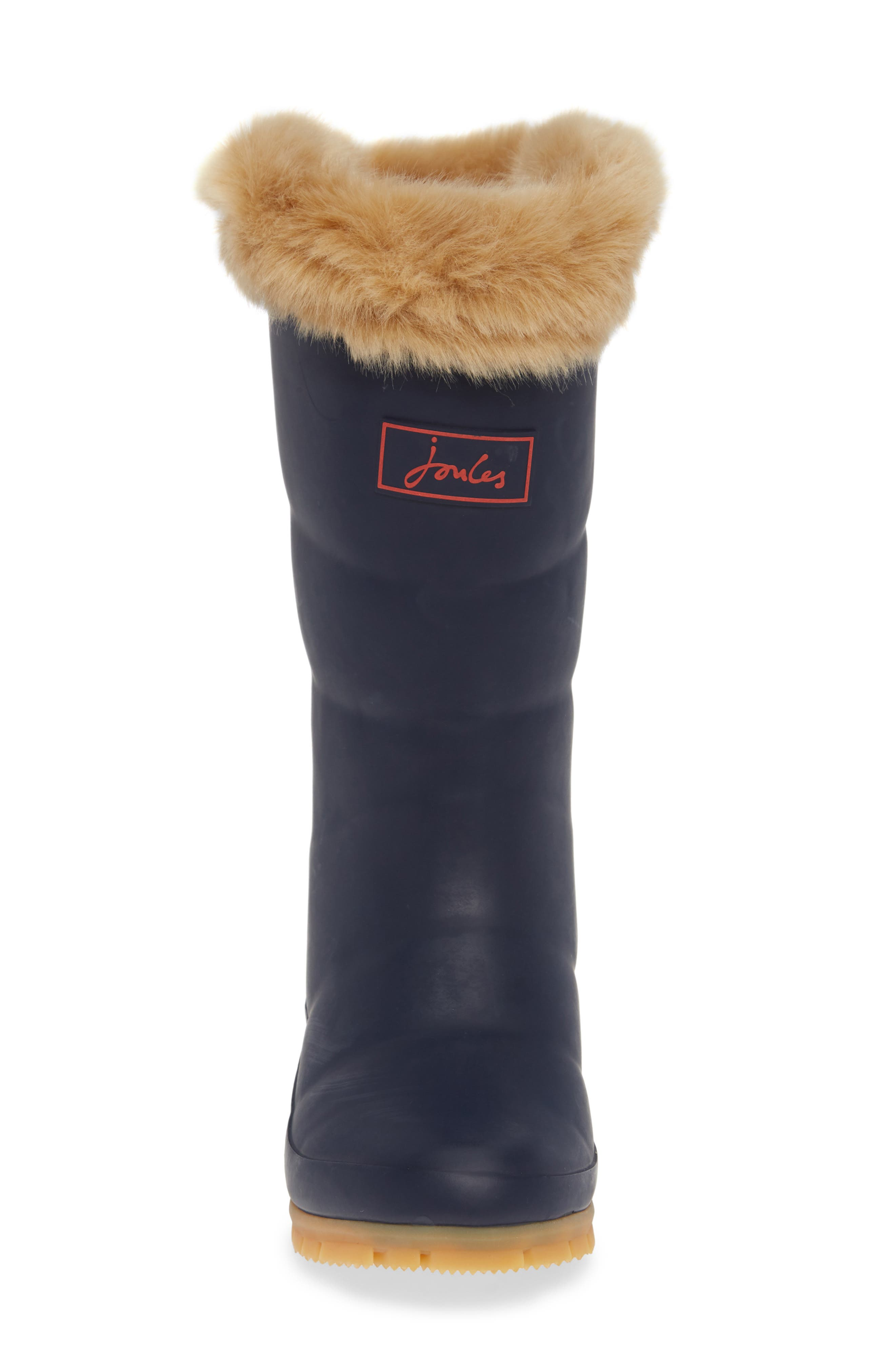 Padded Welly Waterproof Rain Boot with Faux Fur Trim,                             Alternate thumbnail 4, color,                             FRENCH NAVY