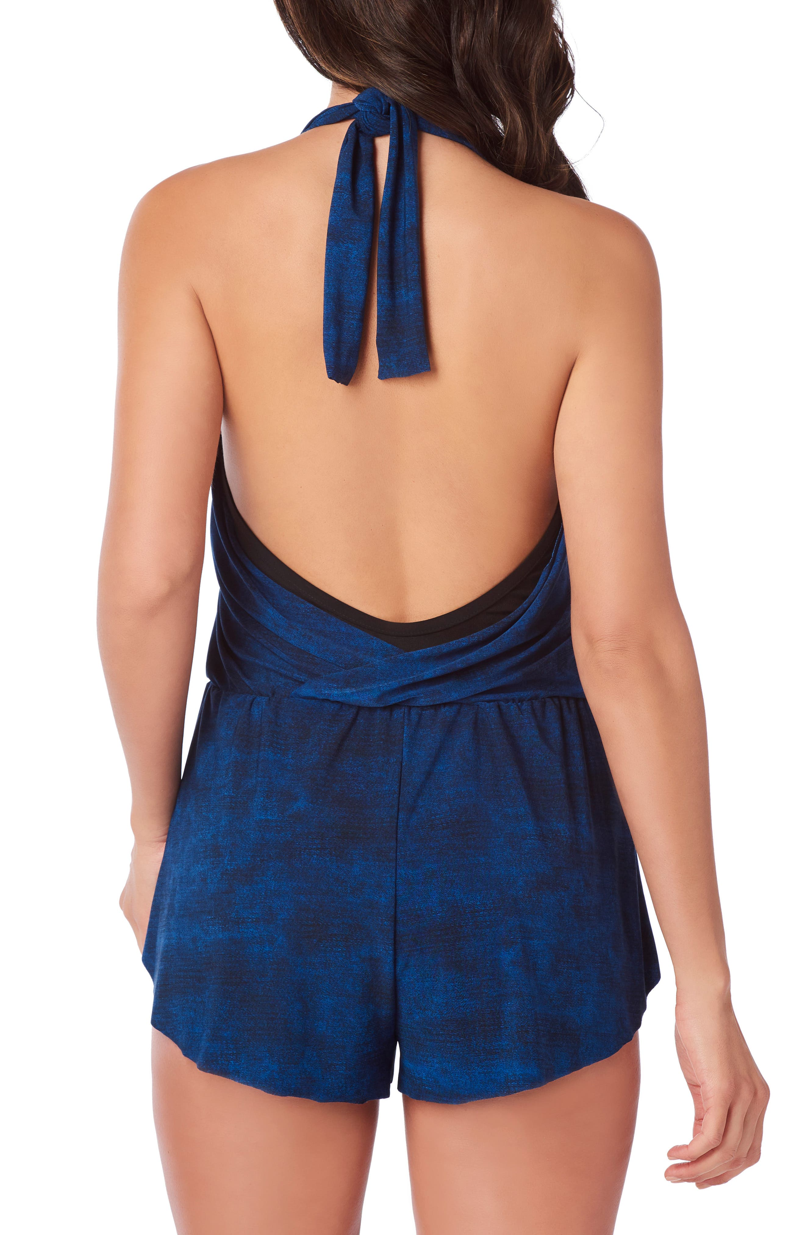 Skinny Jeans Bianca One-Piece Romper Swimsuit,                             Alternate thumbnail 2, color,                             DENIM
