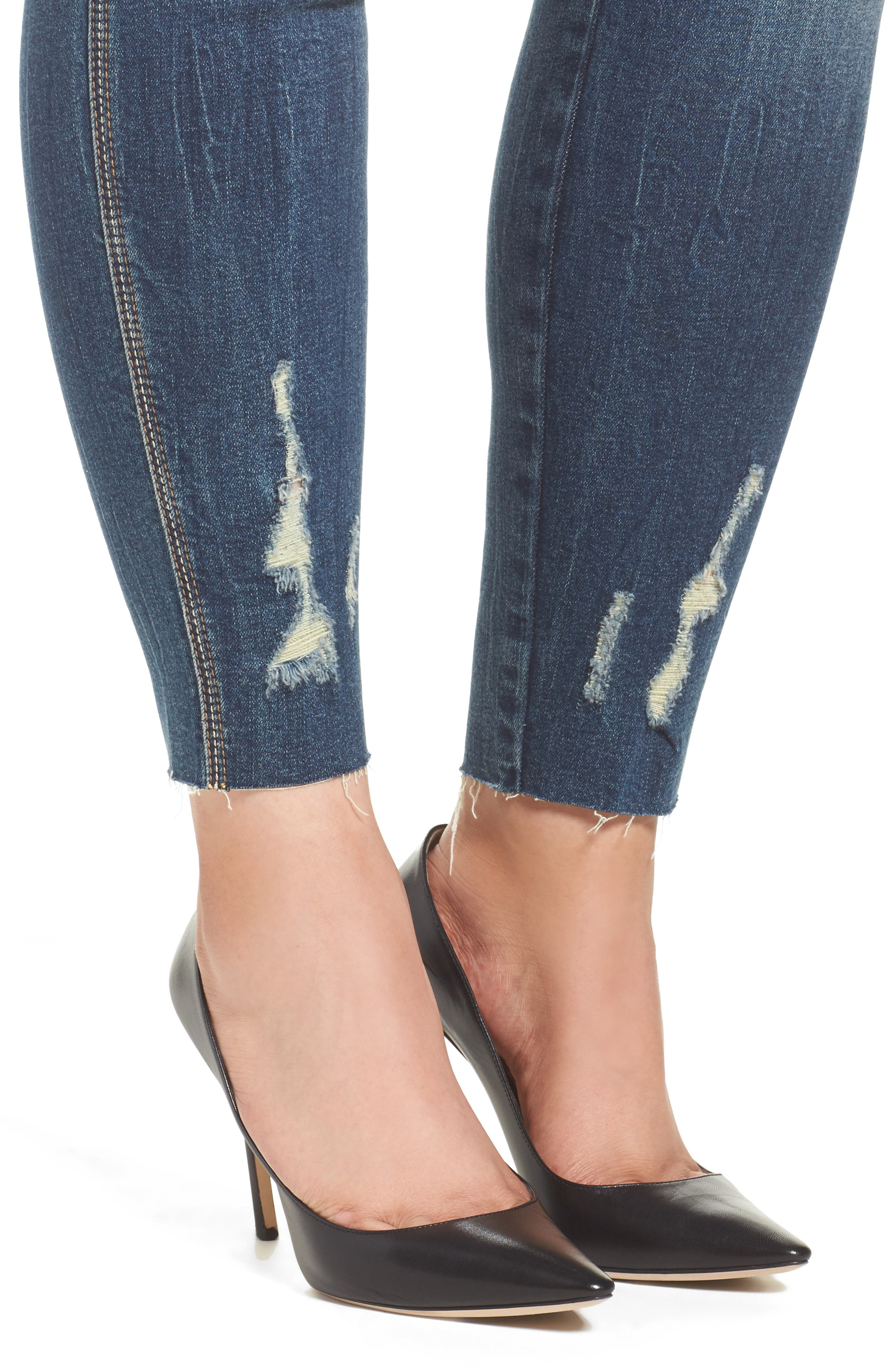 Distressed Raw Hem Skinny Jeans,                             Alternate thumbnail 4, color,                             420