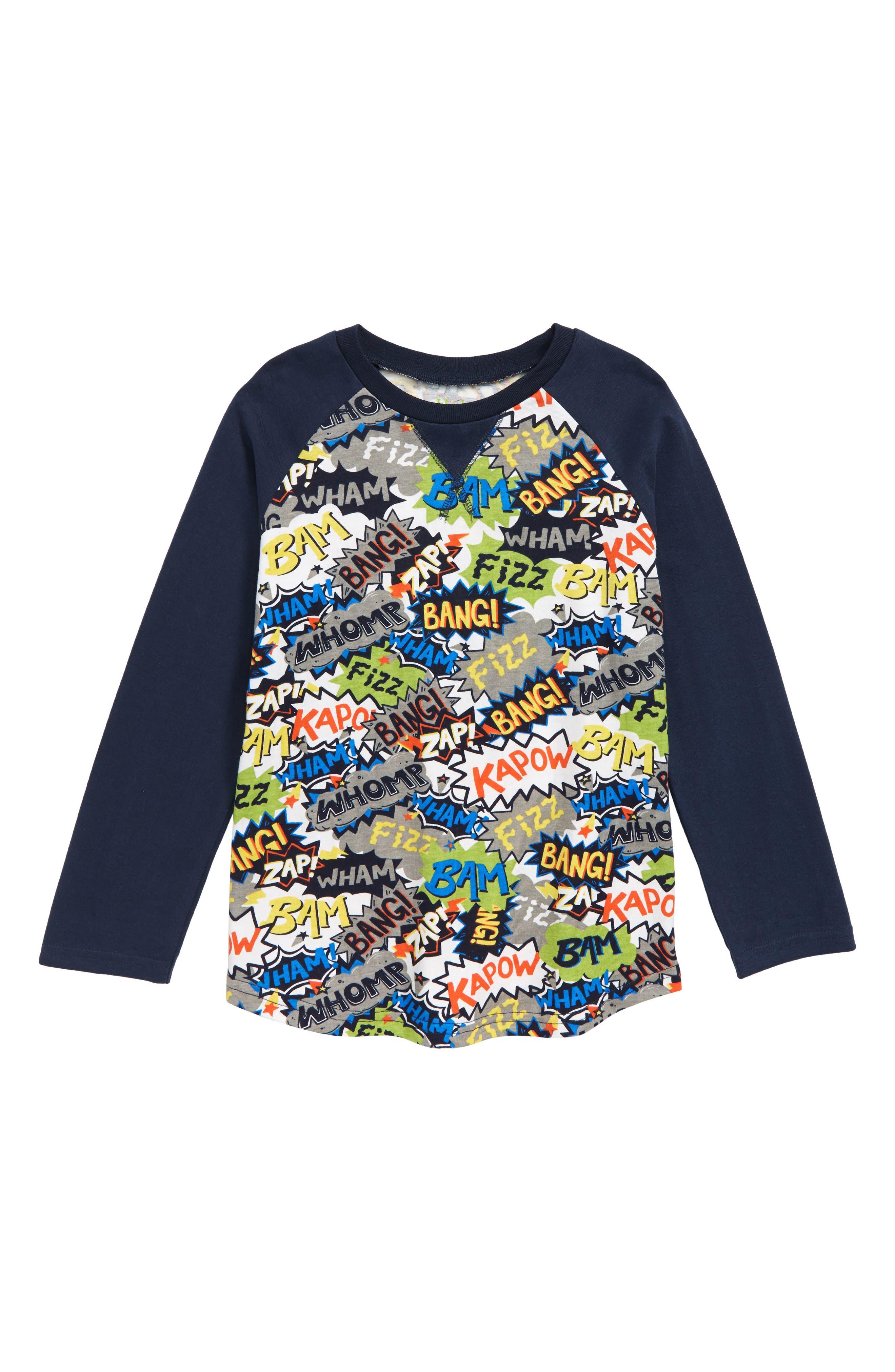 Comic Print T-Shirt,                         Main,                         color, BLUE