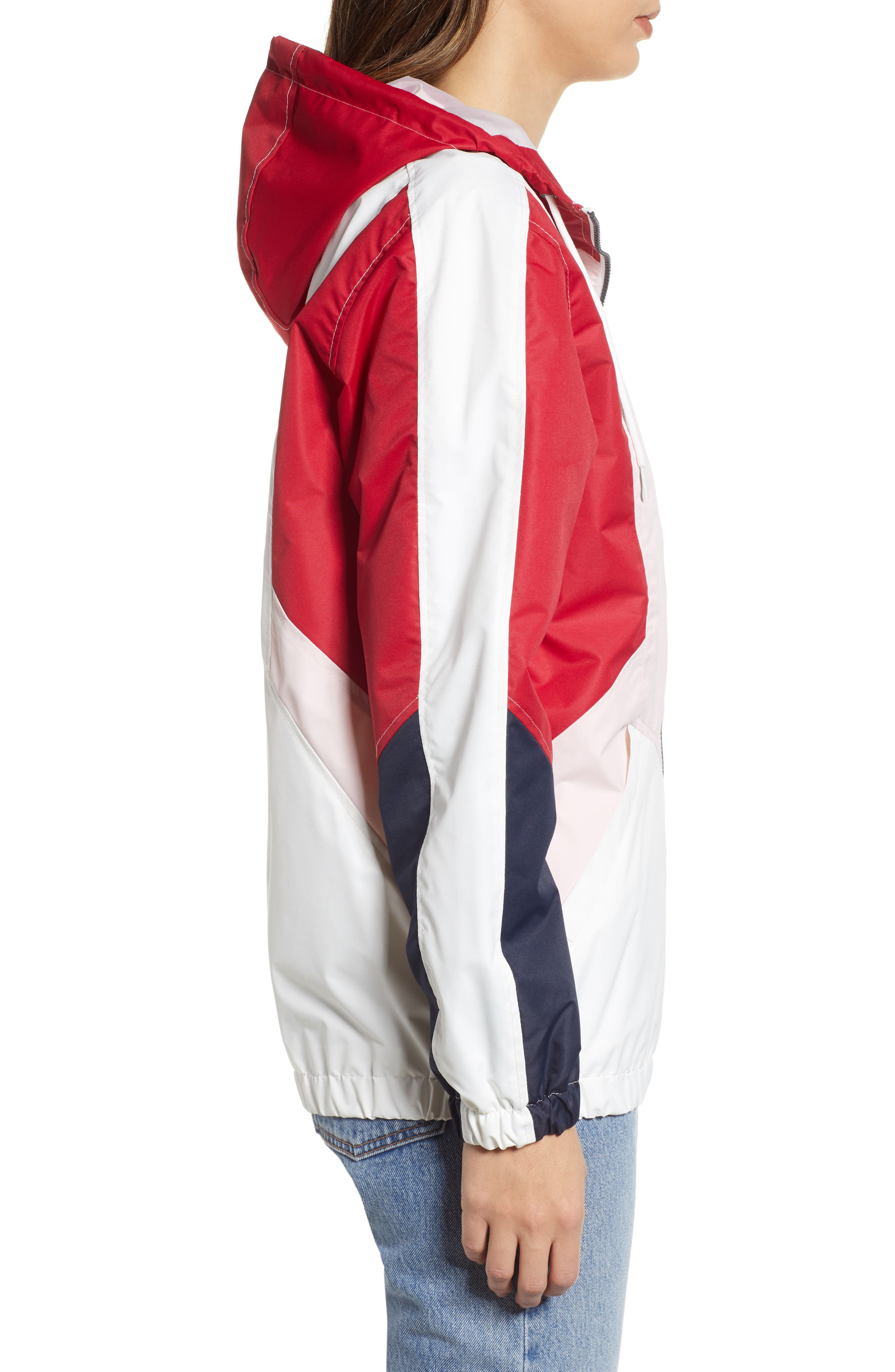 Retro Colorblock Bomber Jacket,                             Alternate thumbnail 3, color,                             PINK-RED