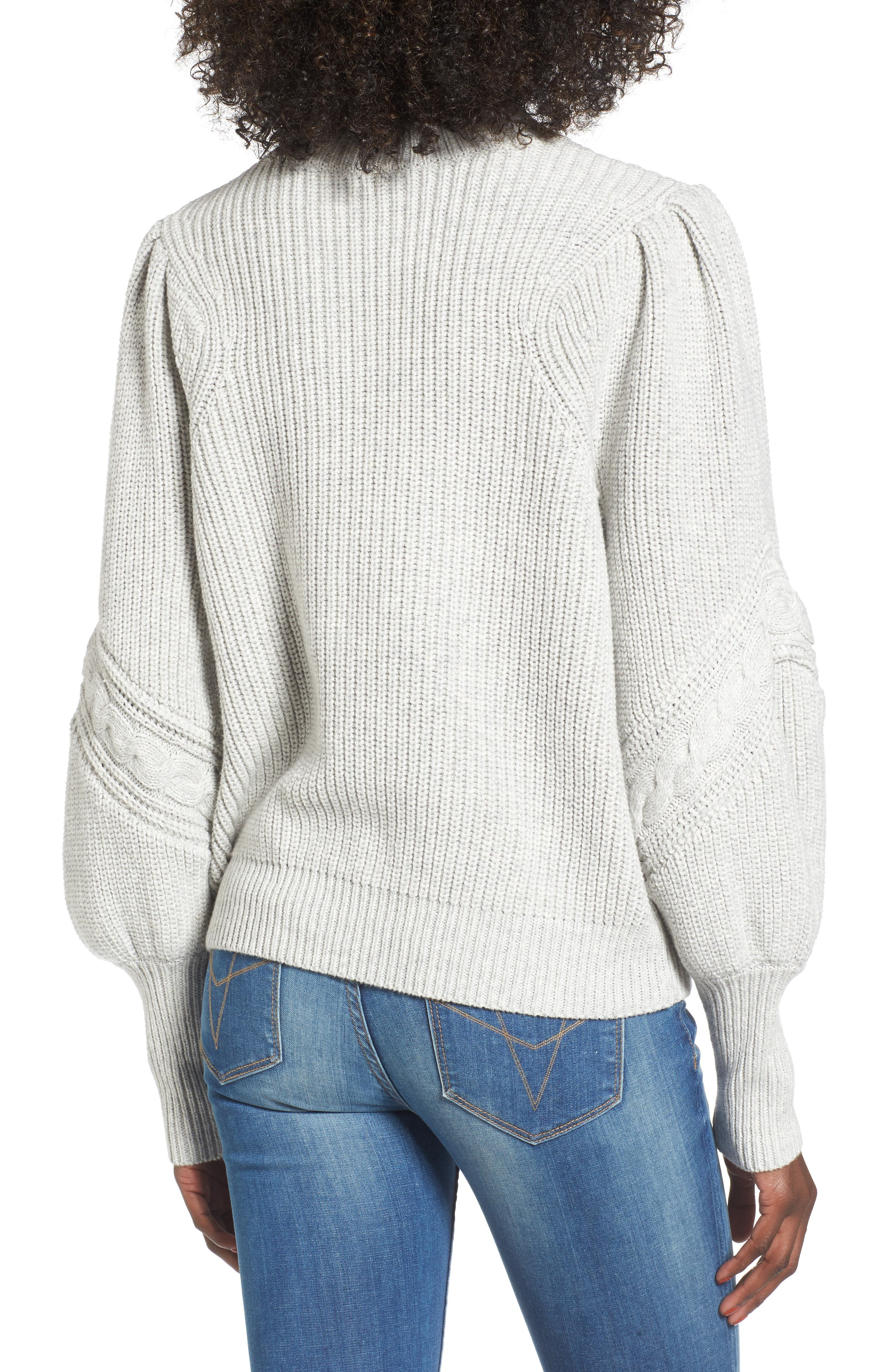 Cable Knit Puff Sleeve Sweater,                             Alternate thumbnail 2, color,                             050