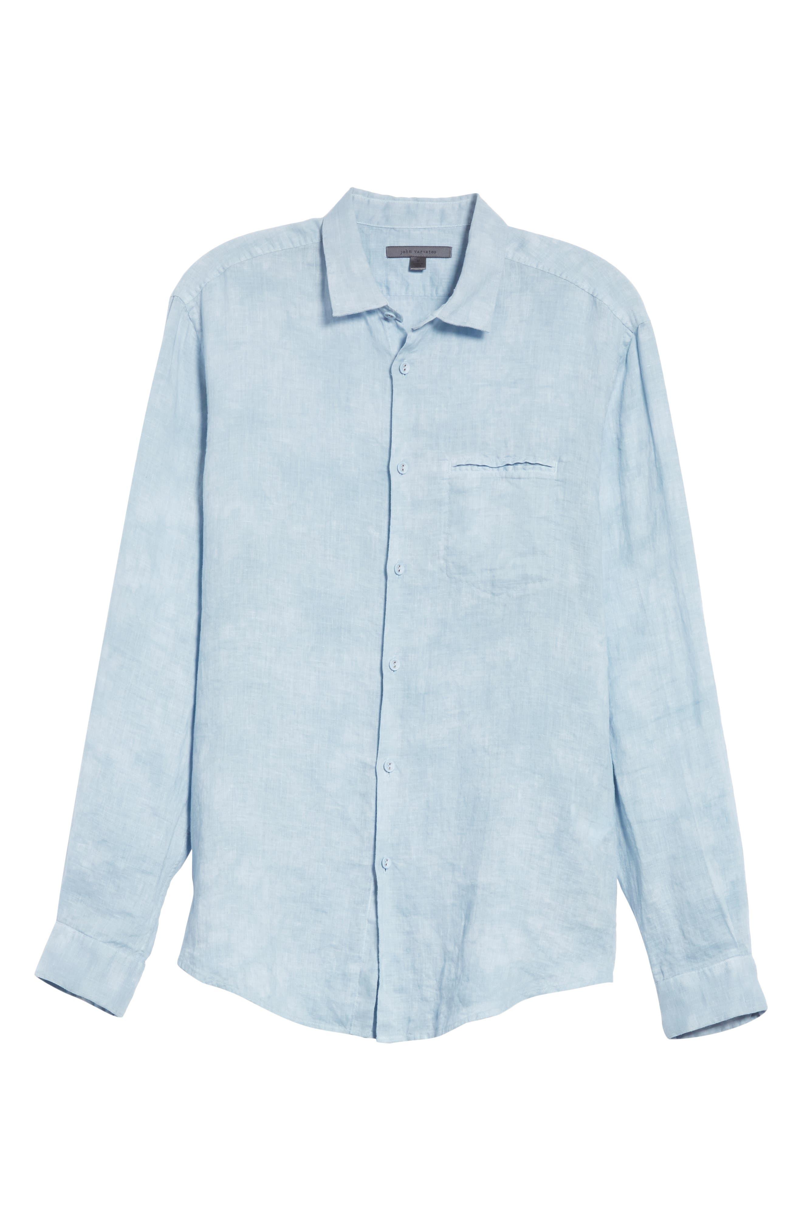Linen Sport Shirt,                             Alternate thumbnail 6, color,                             SKY BLUE